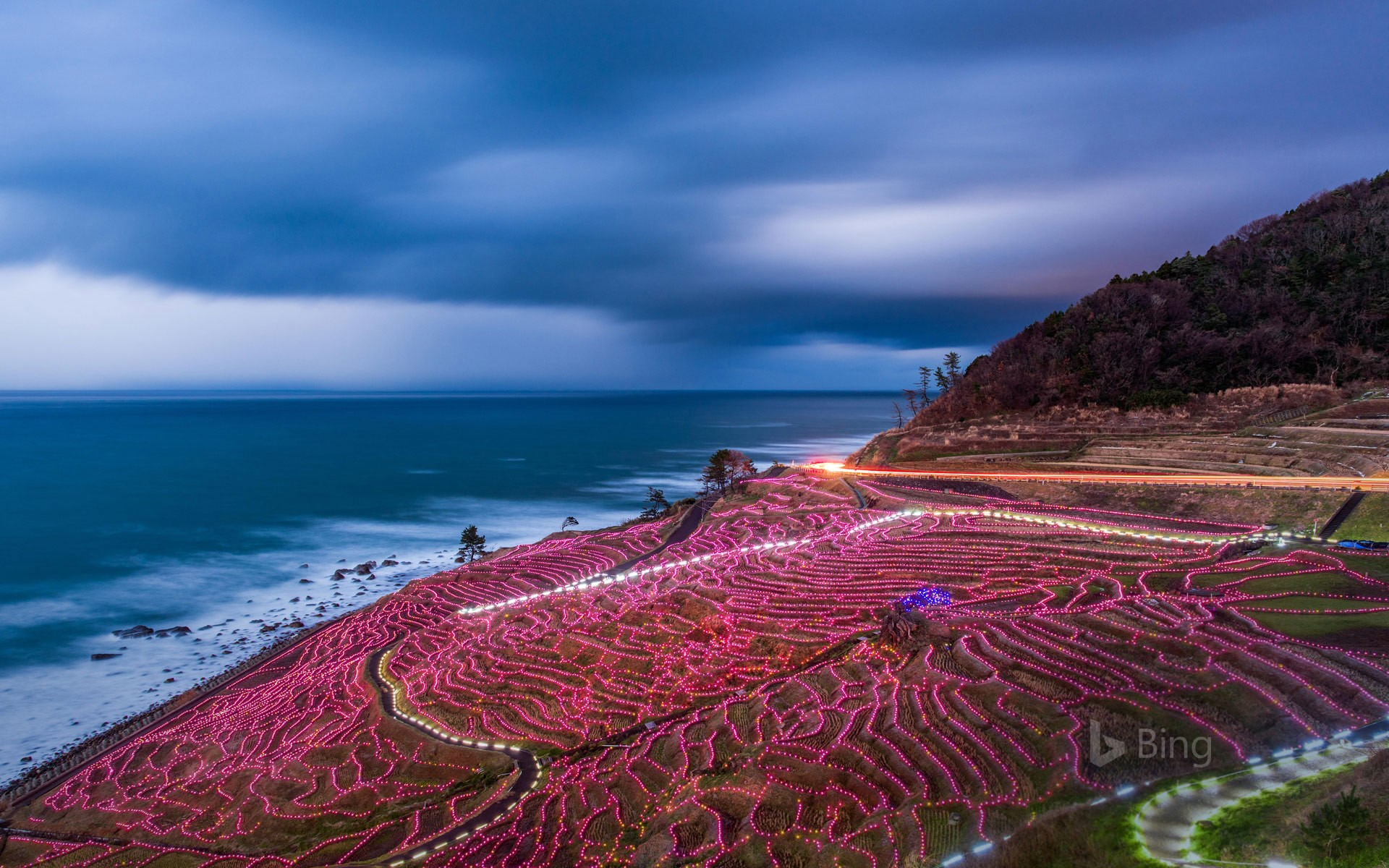Rice terraces strung with lights, Wajima, Japan