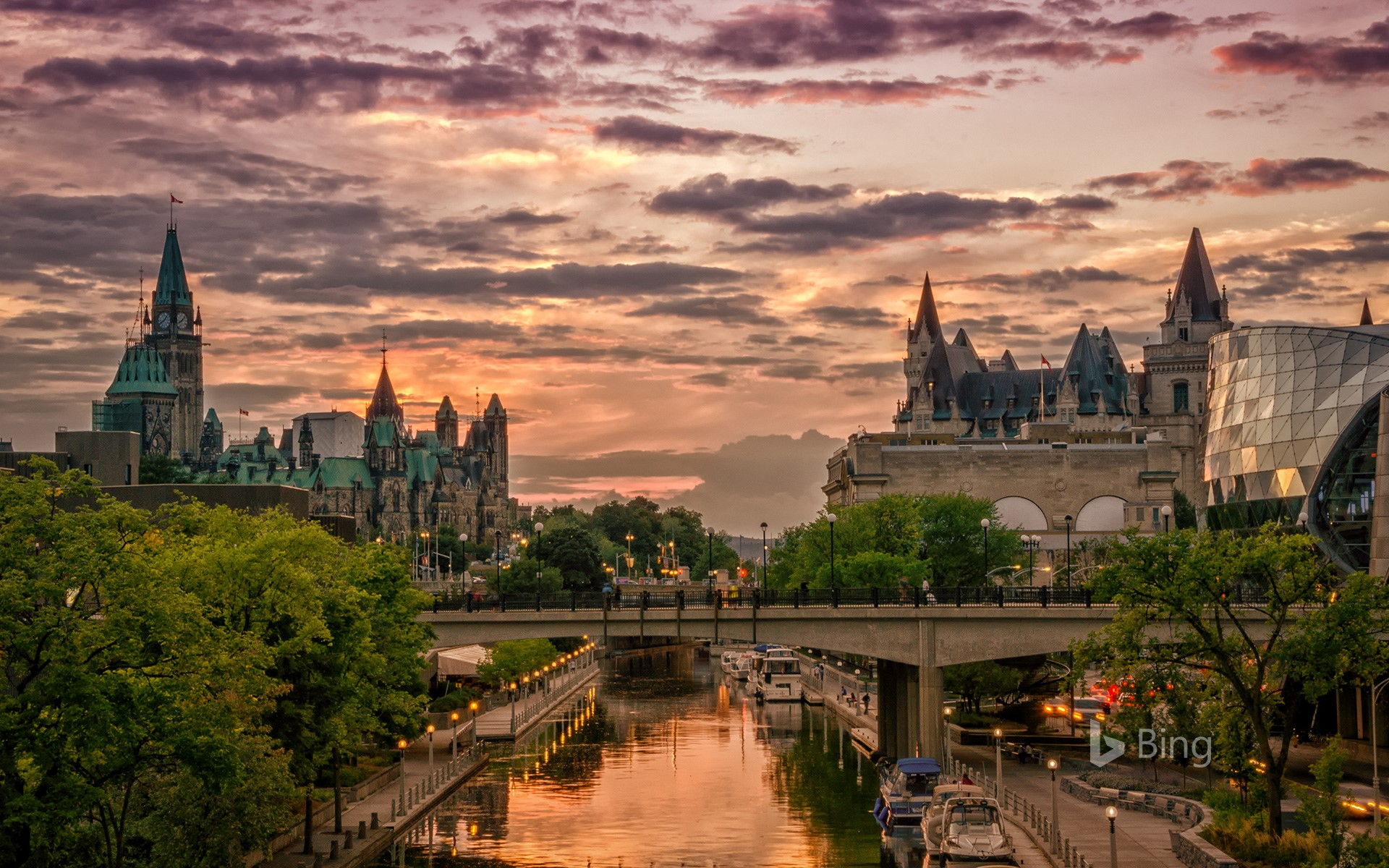 Rideau Canal at sunset with Chateau Laurier in the background, Ottawa, Canada