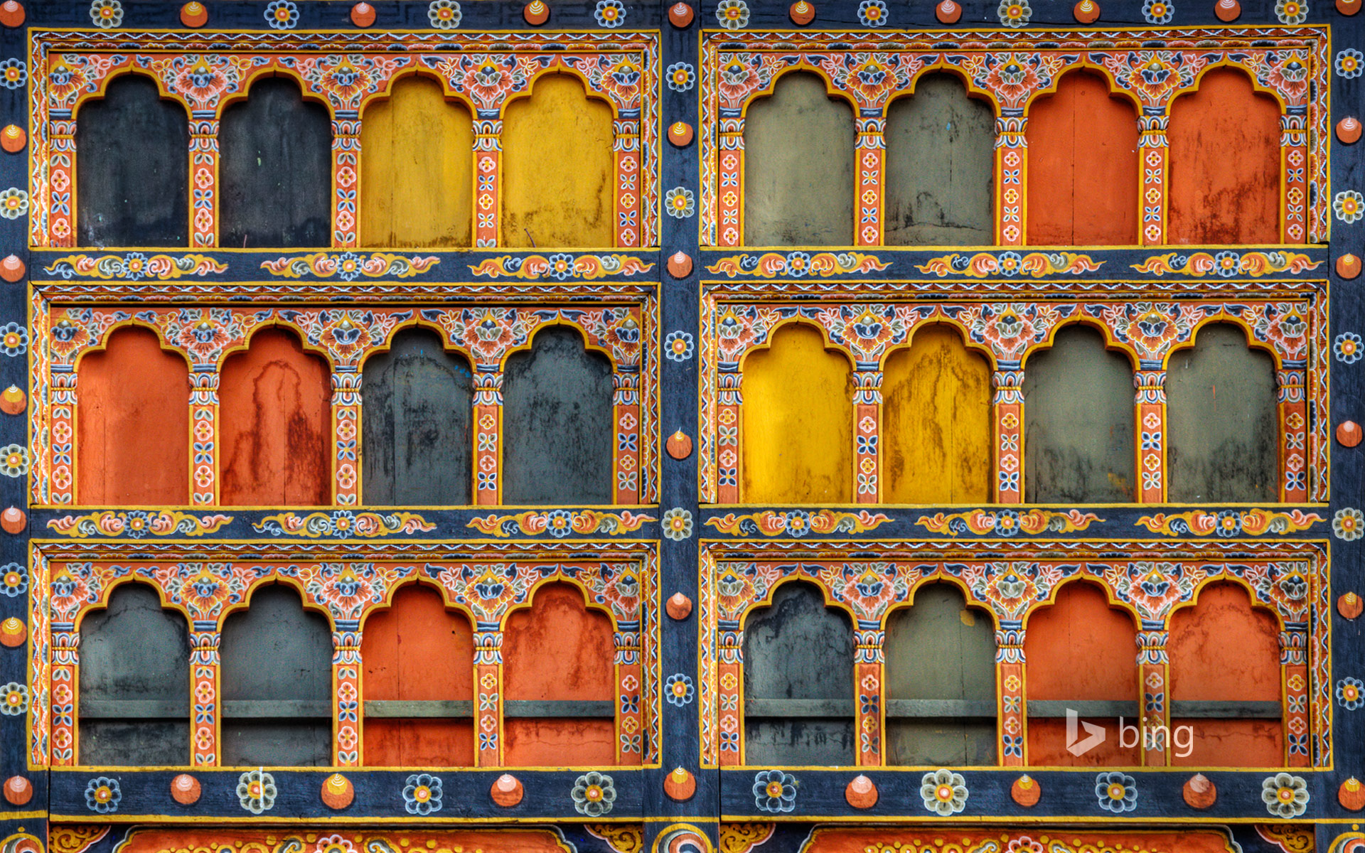 Architectural detail of Rinpung Dzong in Paro, Bhutan