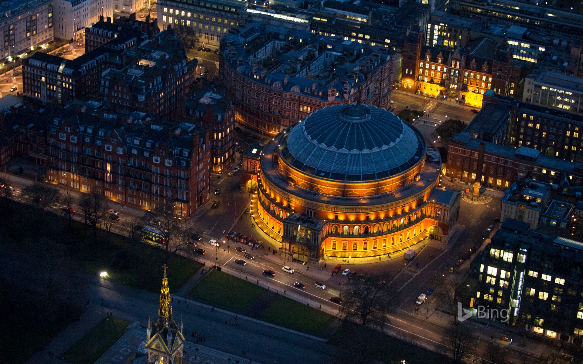 Aerial view of the Royal Albert Hall in South Kensington, London, England