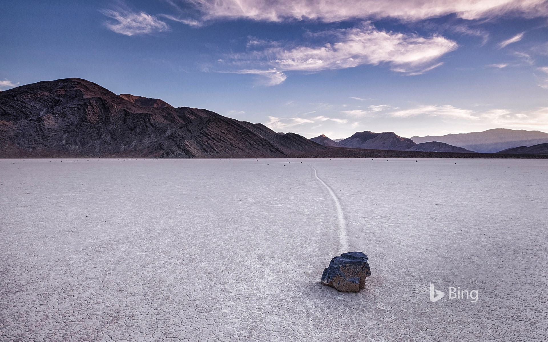 Sailing stone at Racetrack Playa in Death Valley National Park, California