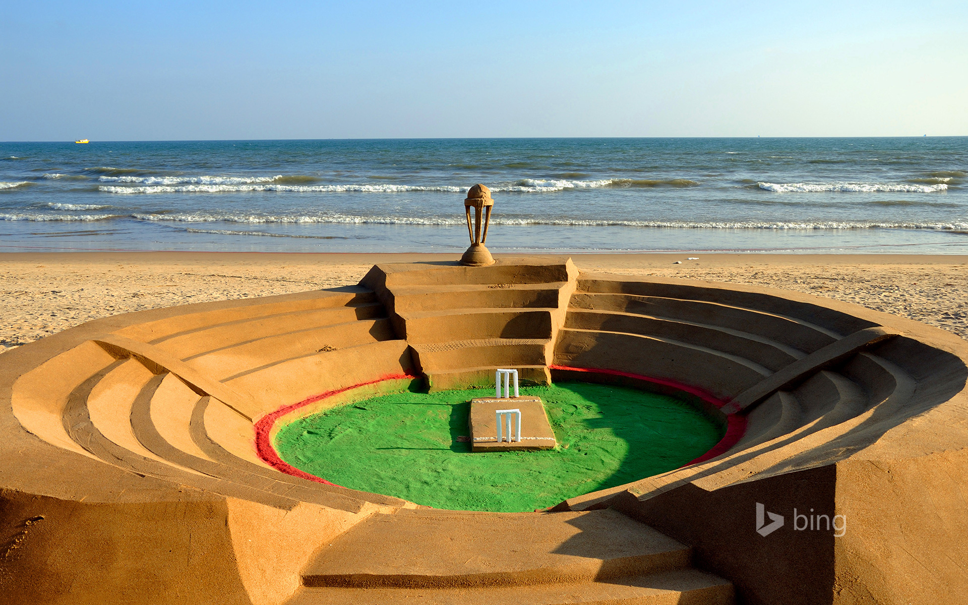 A cricket stadium made from sand in Puri, Odisha, India