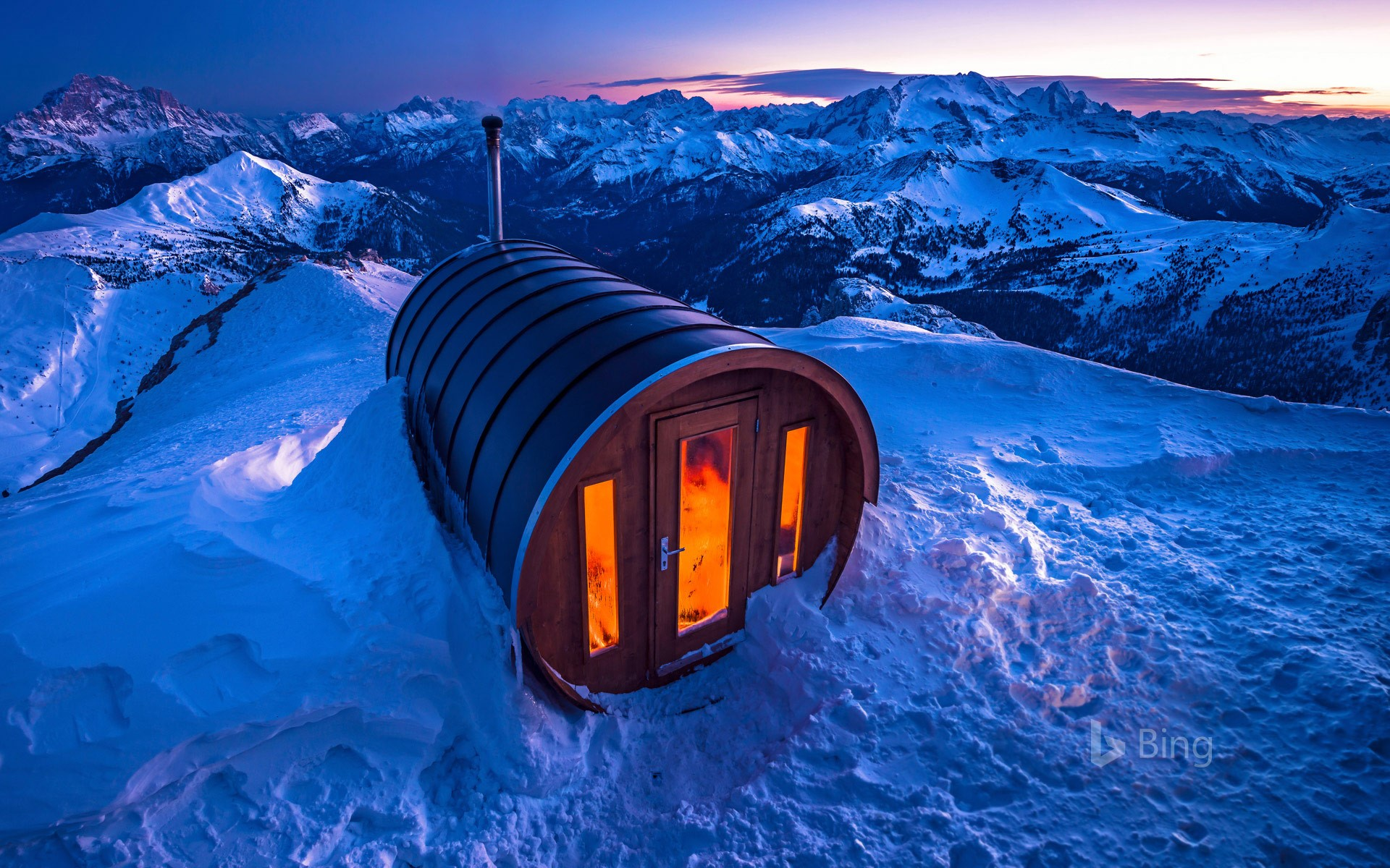 Sauna at Lagazuoi in the Dolomites of Italy