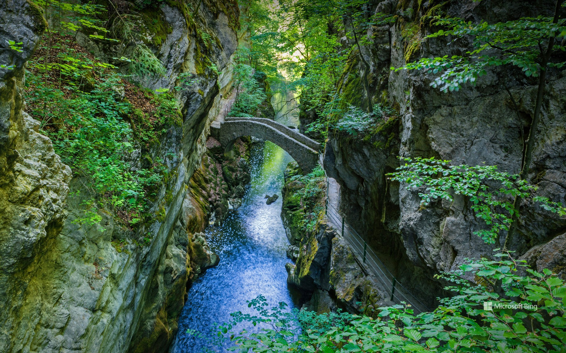 Saut de Brot stone bridge, Areuse Gorge, Switzerland
