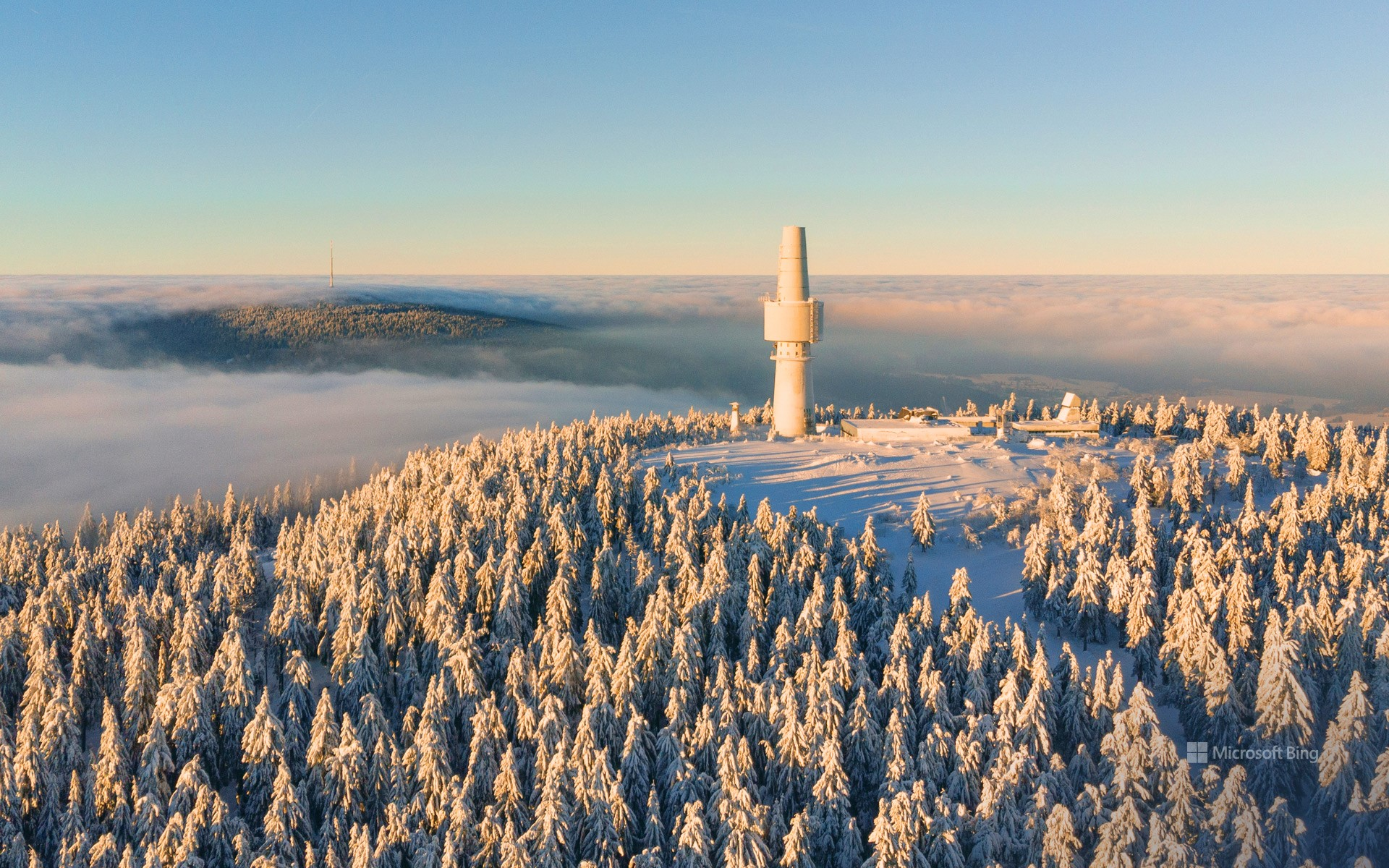 Aerial view of the Ochsenkopf and Schneeberg mountains, Bavaria, Germany