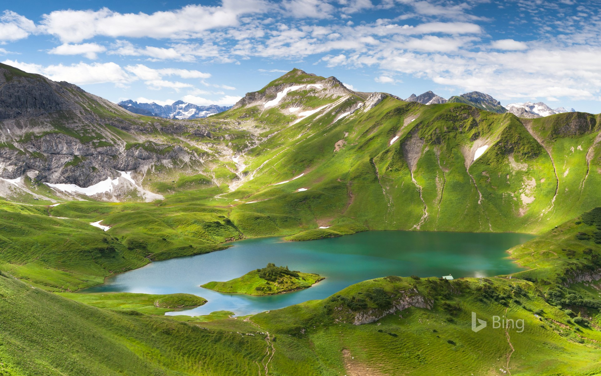 Panorama of the Schrecksee, a lake in Bavaria, Germany