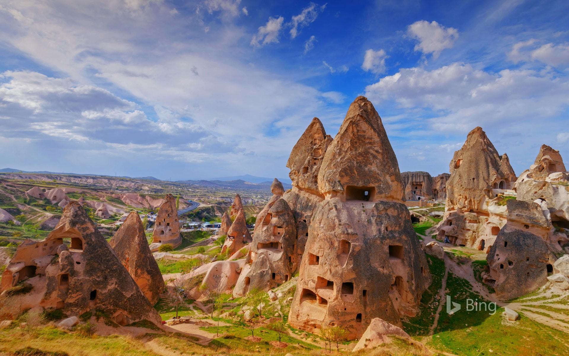 Fairy chimneys and cave dwellings in Uçhisar, Cappadocia, Turkey