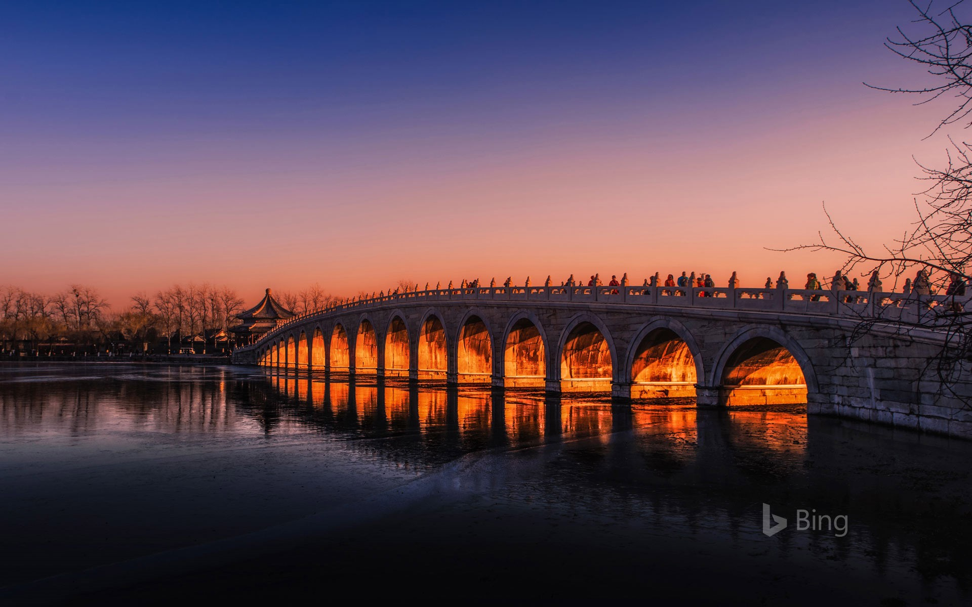The Seventeen-Arch Bridge over Kunming Lake in Beijing Summer Palace, China