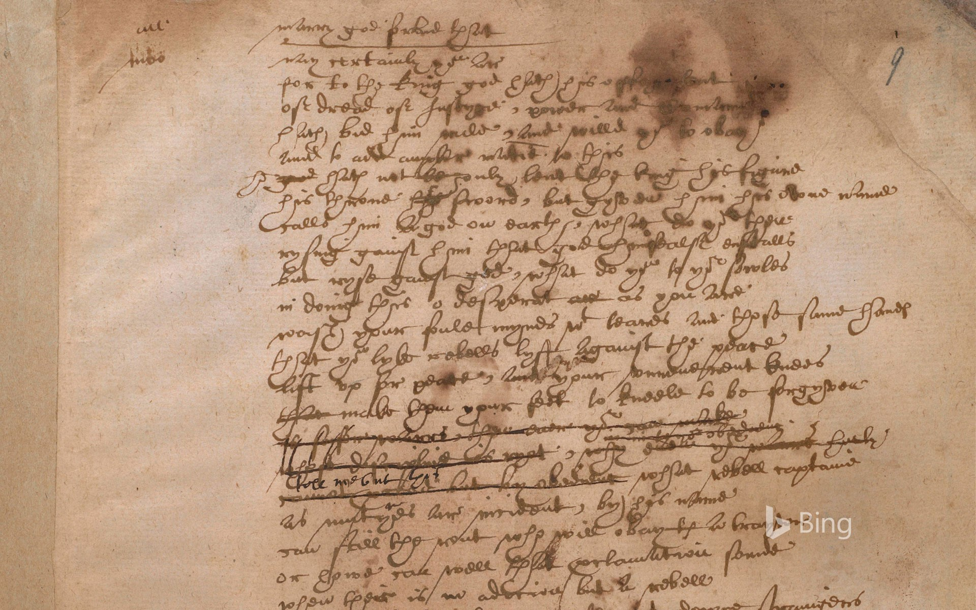 Shakespeare's handwriting from the play Sir Thomas More, British Library, London