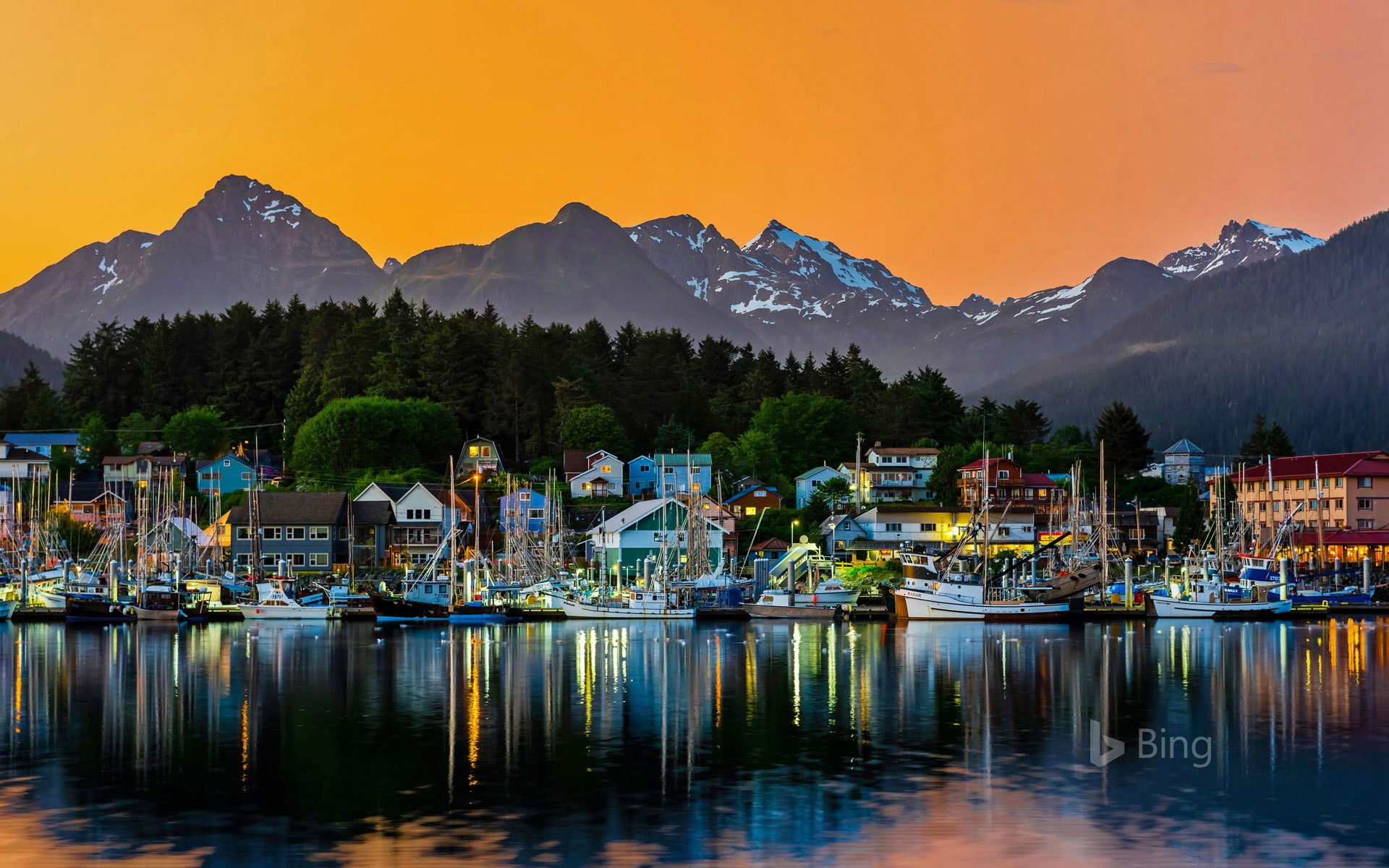 View of the harbour in Sitka, Alaska