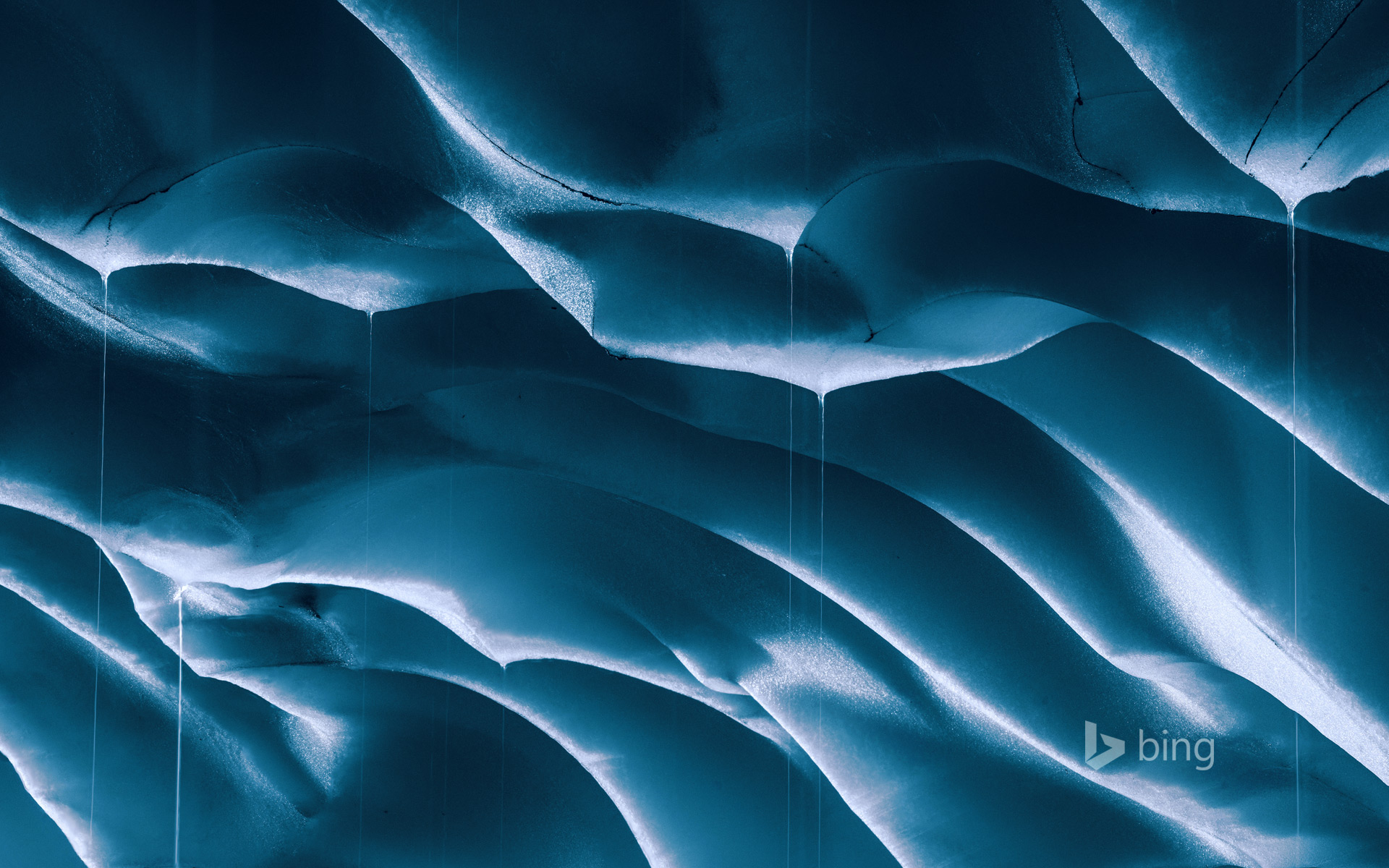 Melting ice walls of a glacial cave, Mount Rainier, Washington