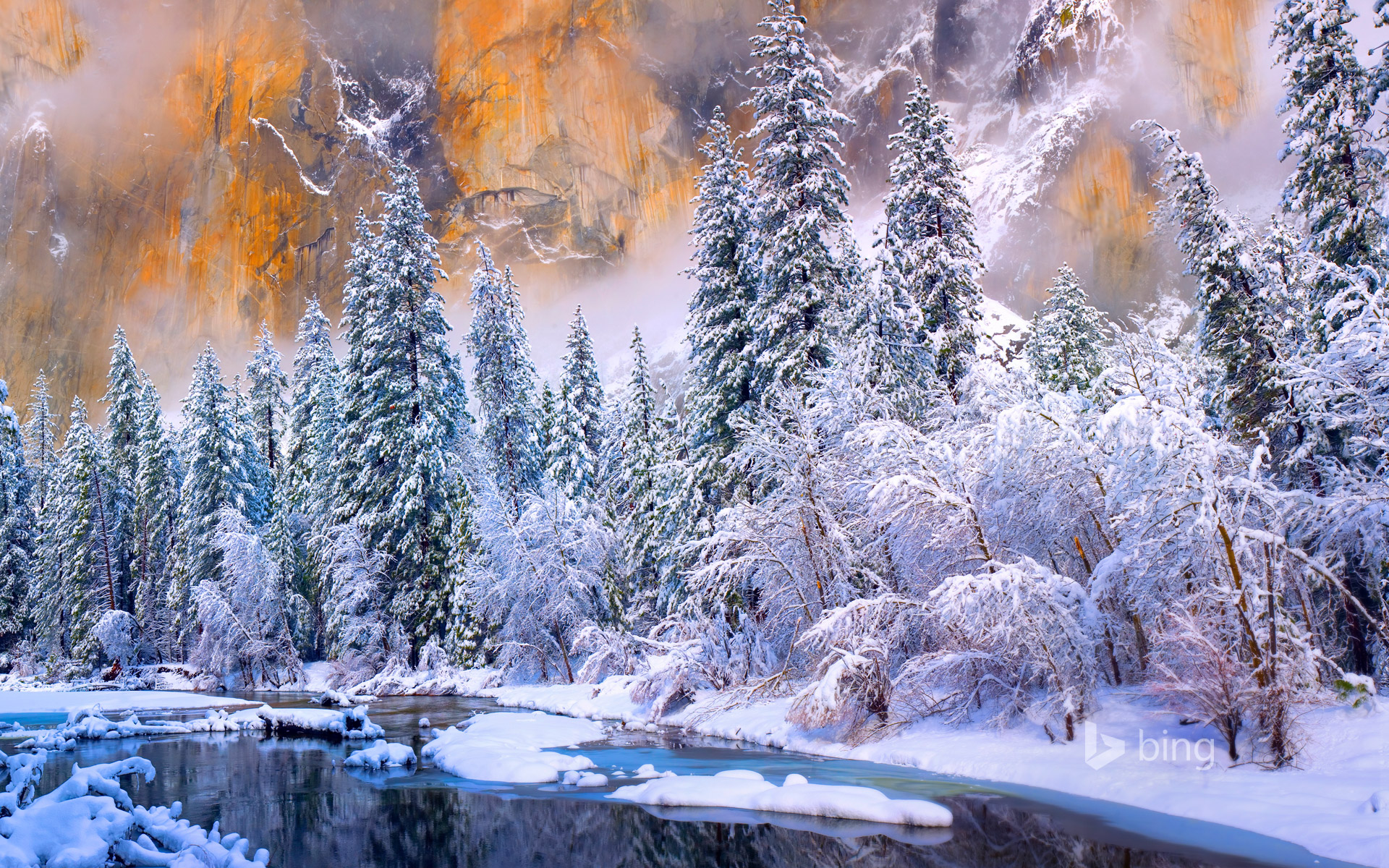 Yosemite National Park after a snow storm, California