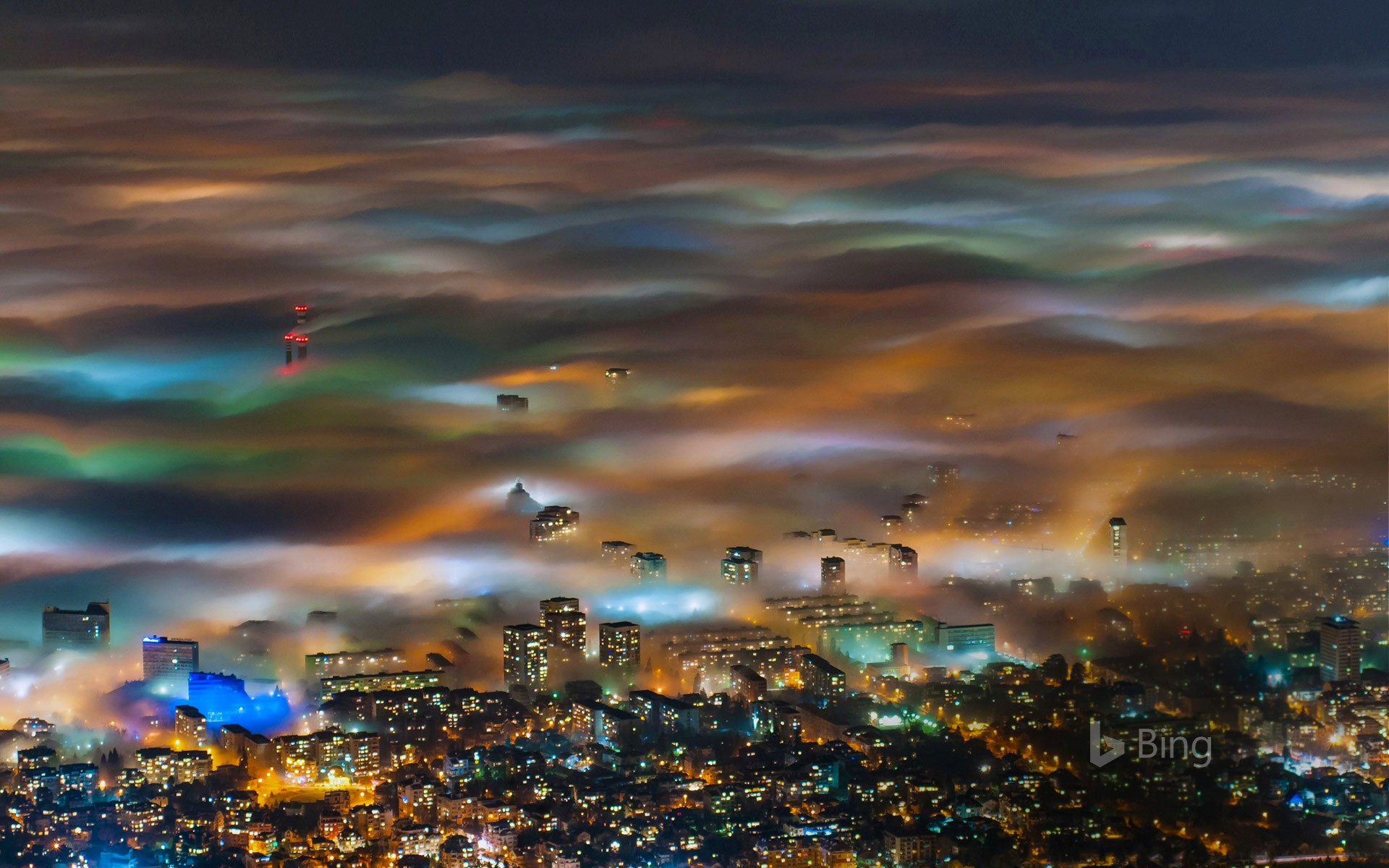 Fog over Sofia, Bulgaria