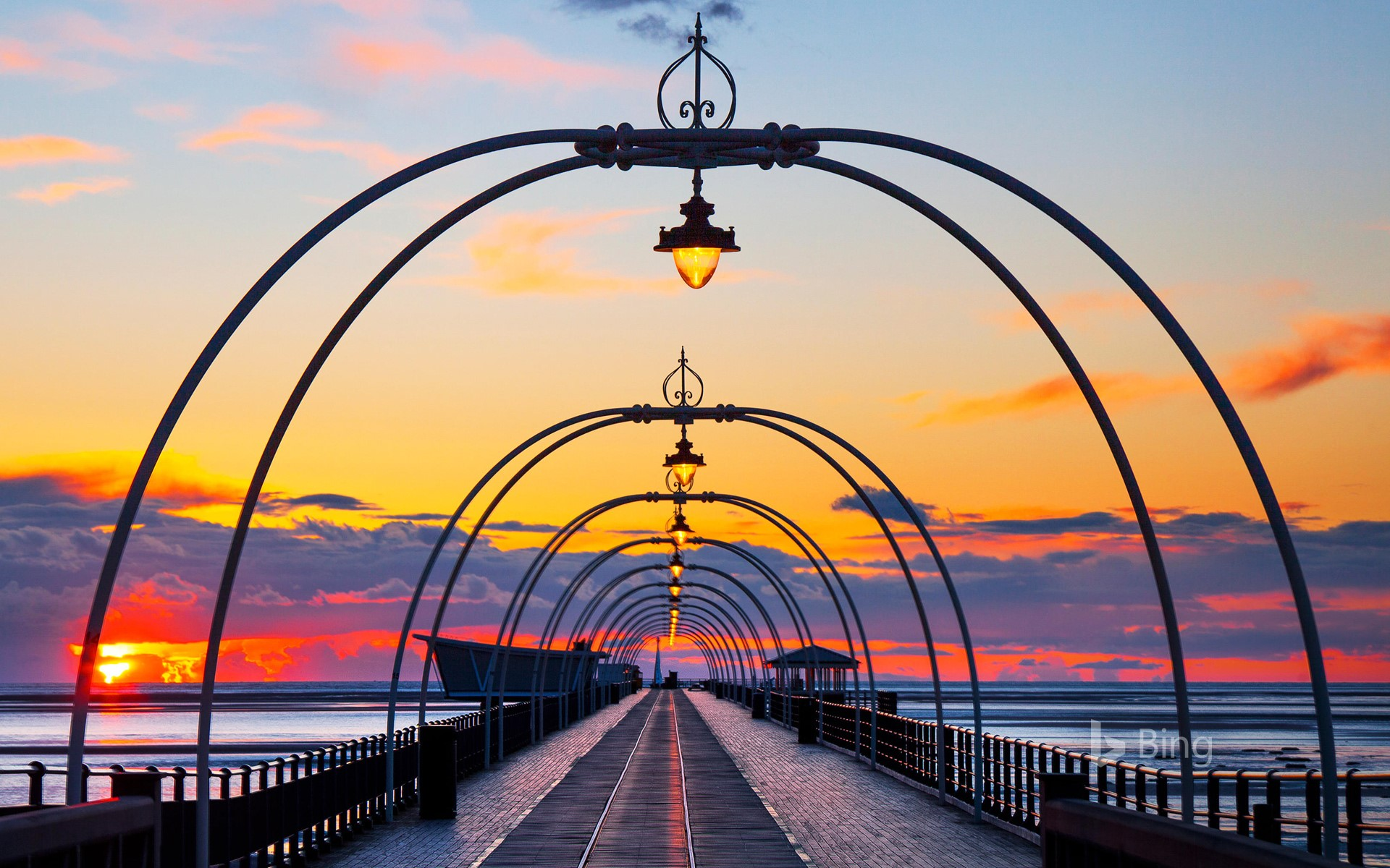 Sunset over Southport Pier, Merseyside