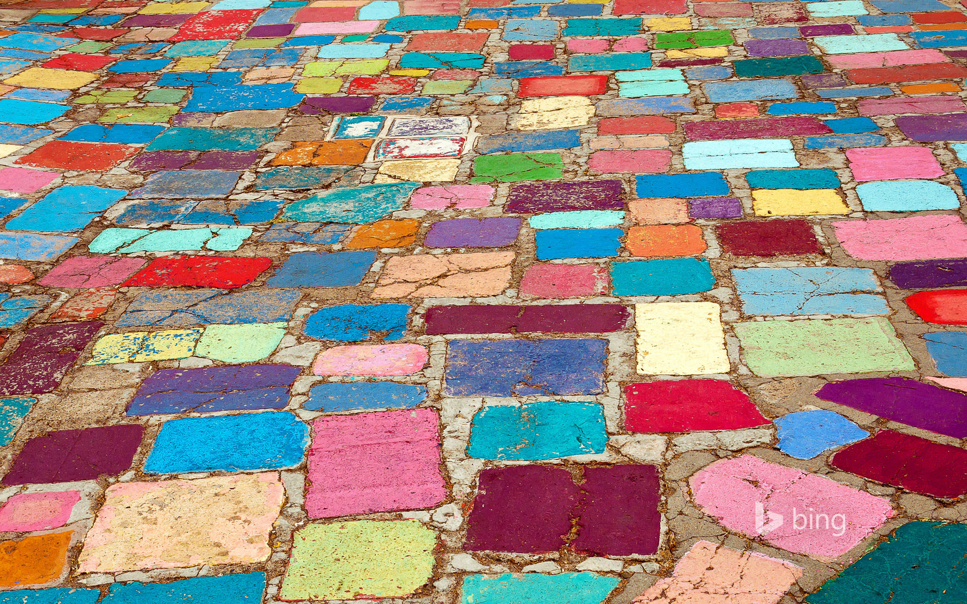 Multicolored cobblestones in the Spanish Village Art Center in Balboa Park, San Diego, California