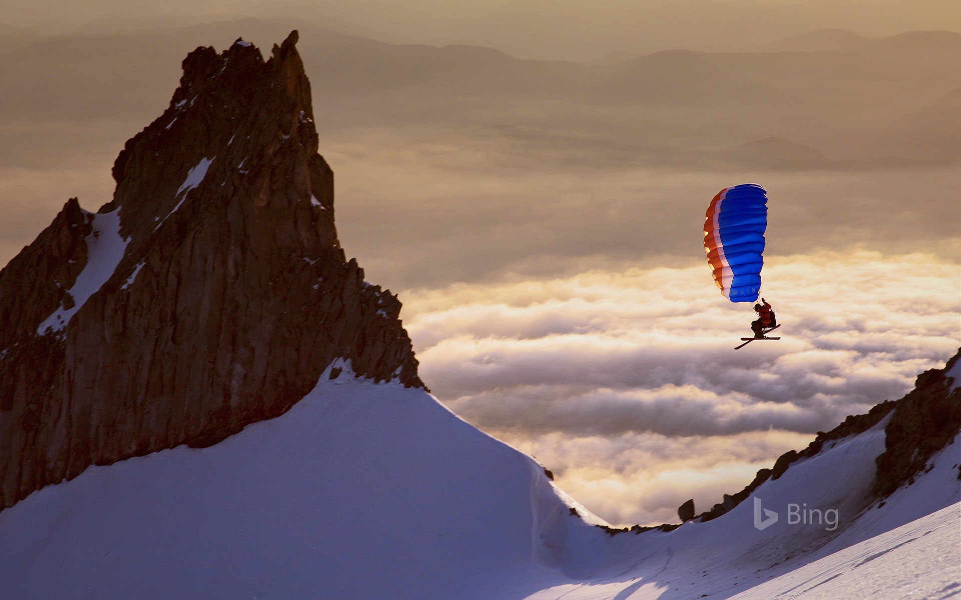 Backcountry adventurer Alex Peterson speed riding on the south side of Mount Hood, Oregon