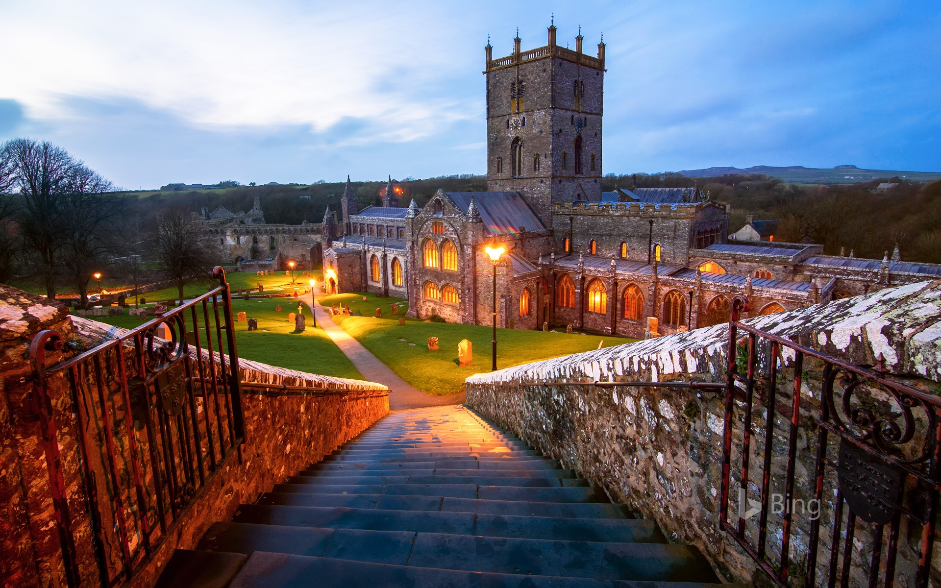 Steps down to St David's Cathedral in St Davids, Pembrokeshire, Wales