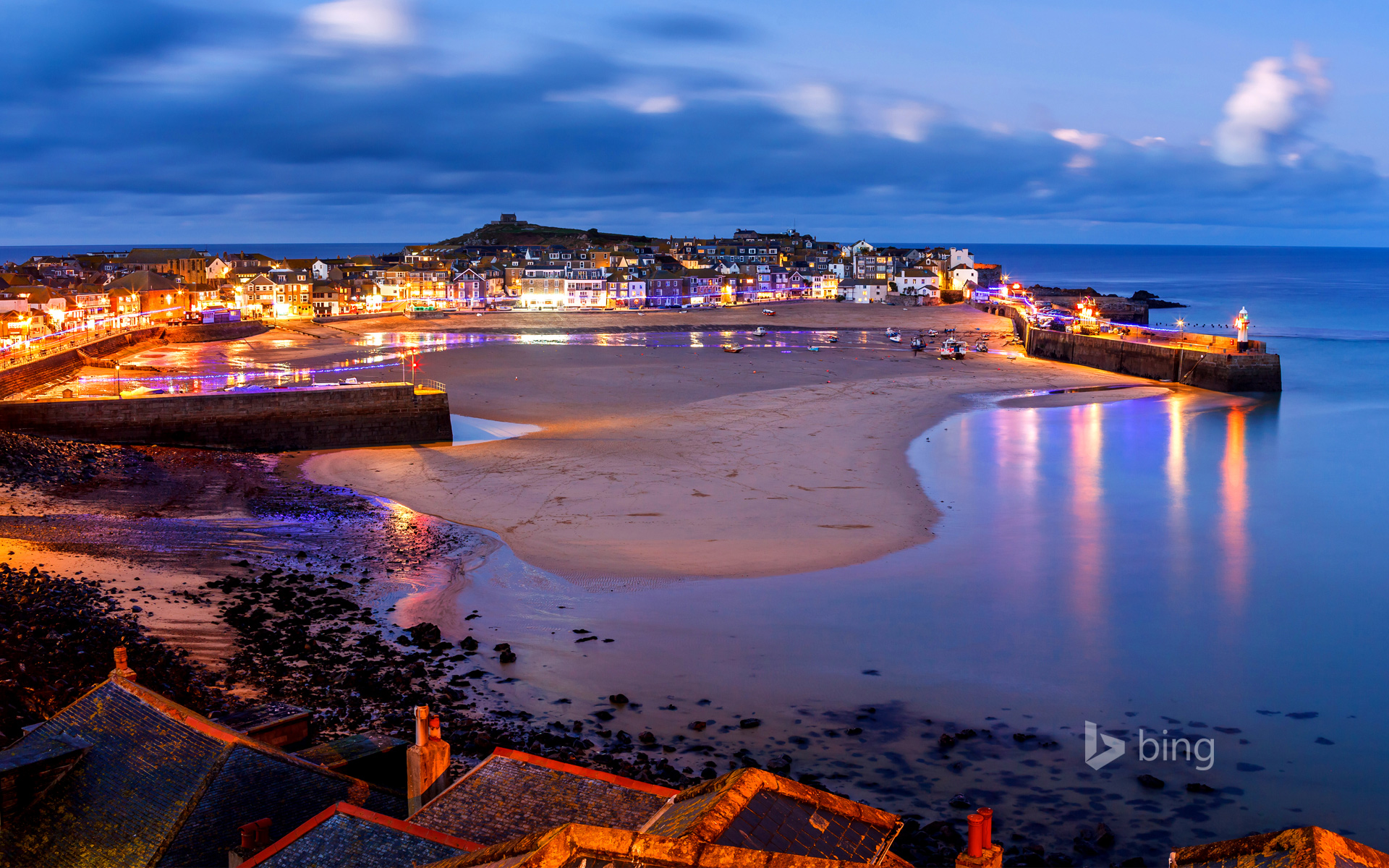 Dusk overlooking St Ives Harbour, Cornwall, England