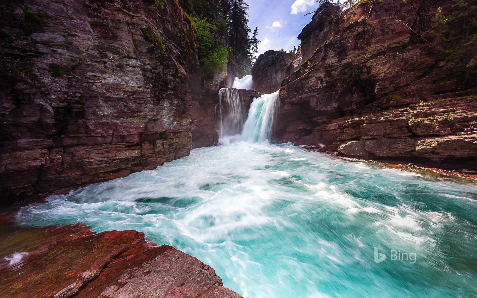St. Mary Falls in Glacier National Park, Montana