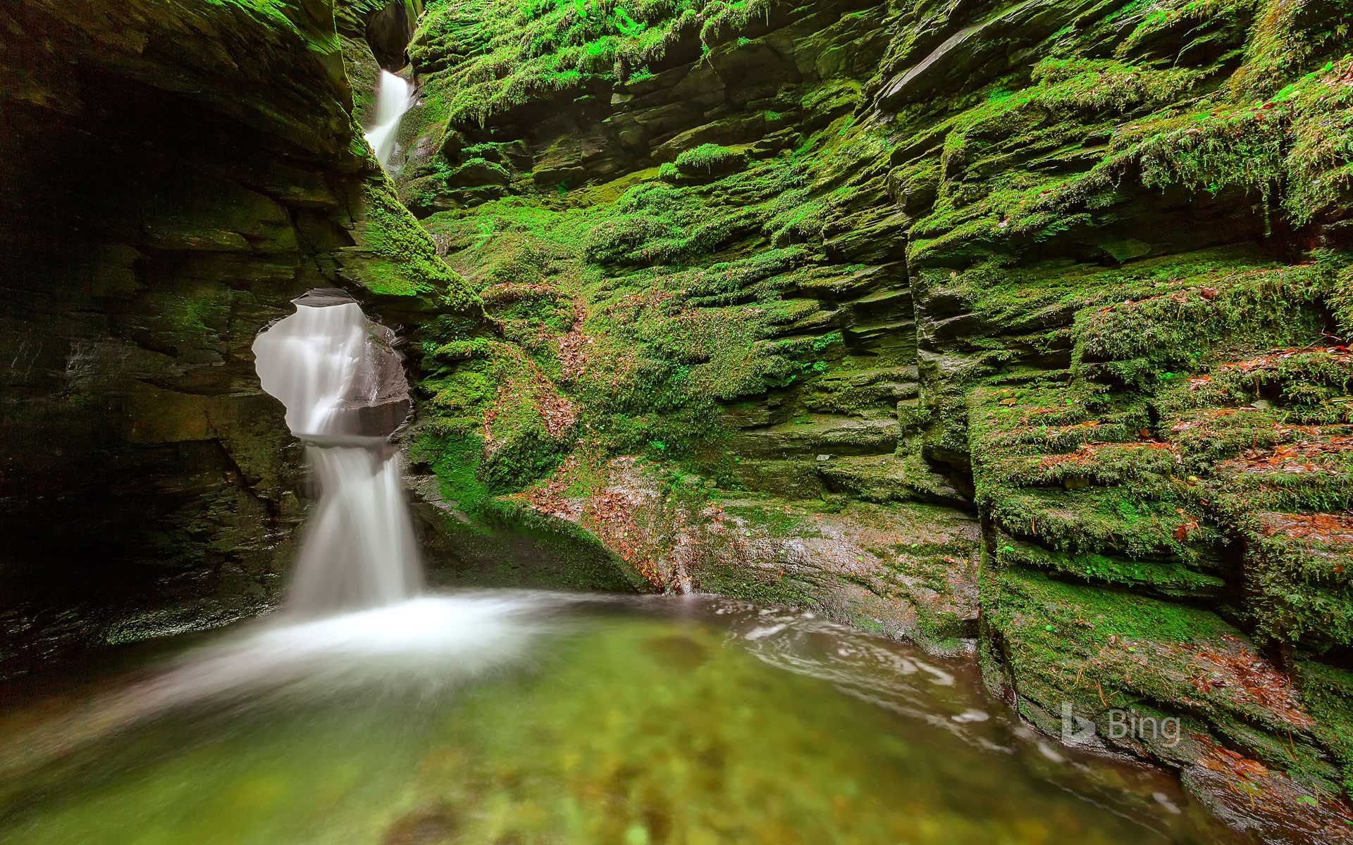 A waterfall at St Nectan's Glen near Tintagel, Cornwall
