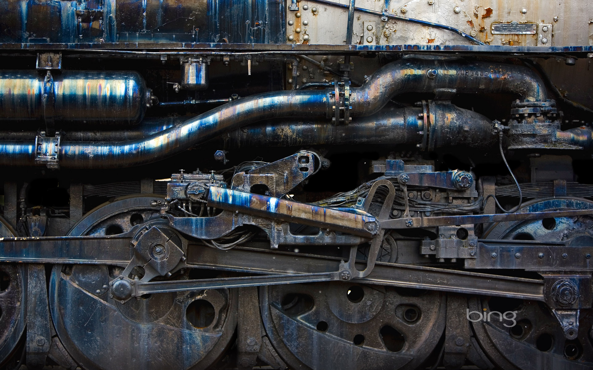 Detail of a steam engine at Steamtown National Historic Site, Scranton, Pennsylvania
