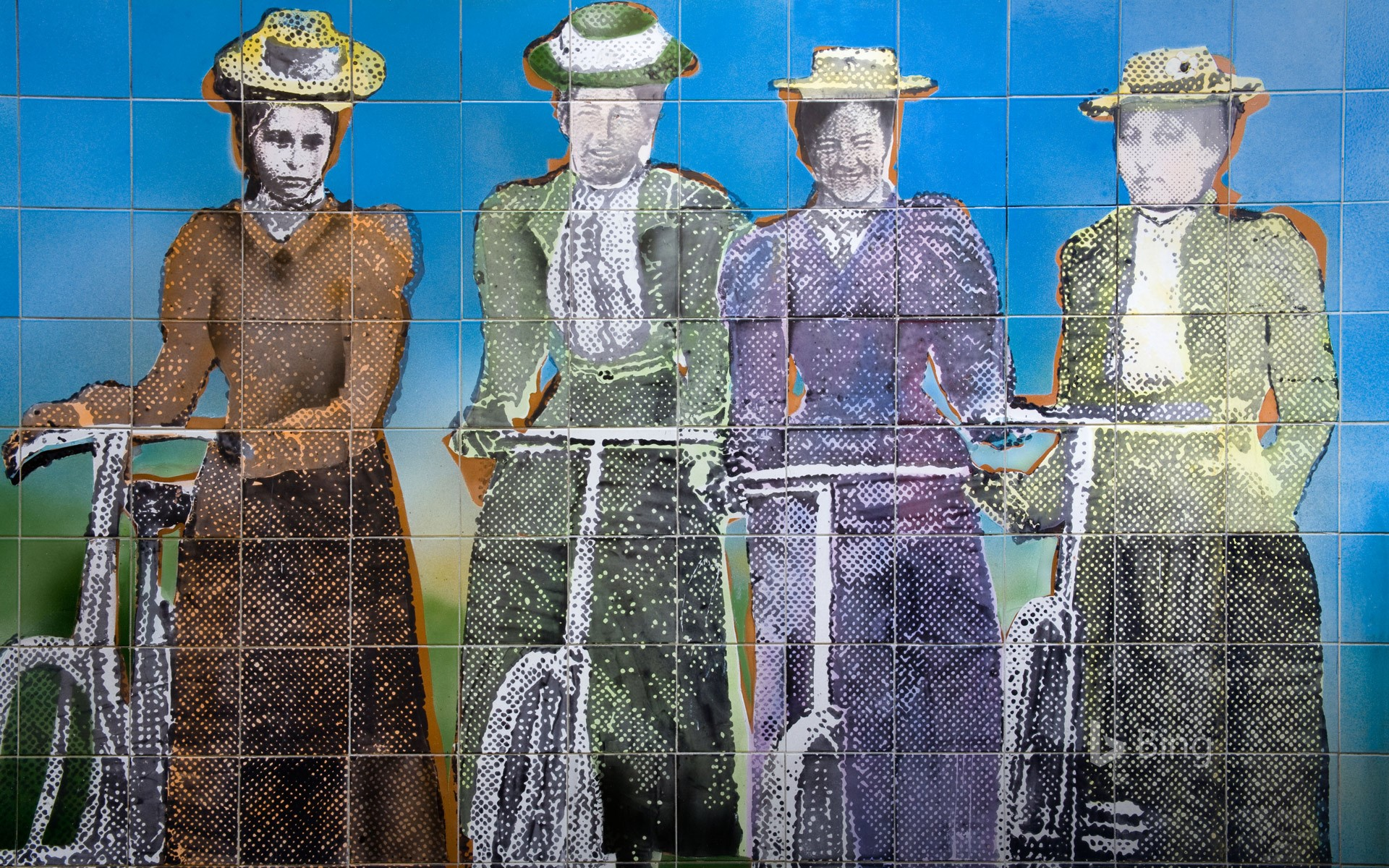 Women's suffrage tile mural outside the Auckland Art Gallery, New Zealand