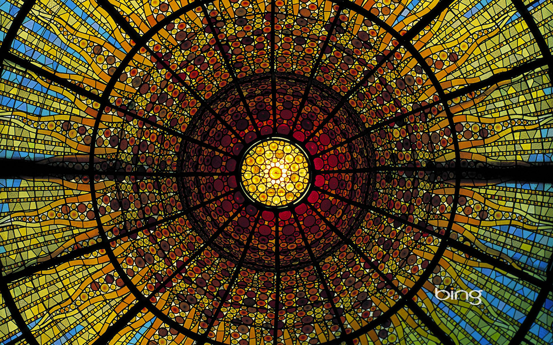 Stained-glass ceiling of the Palau de la Musica Catalana, Barcelona, Spain