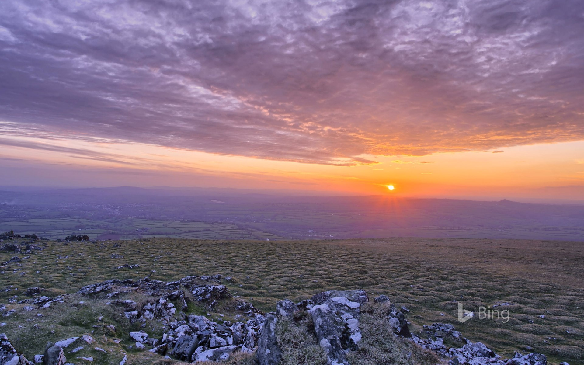 Sun setting in Dartmoor National Park, Devon