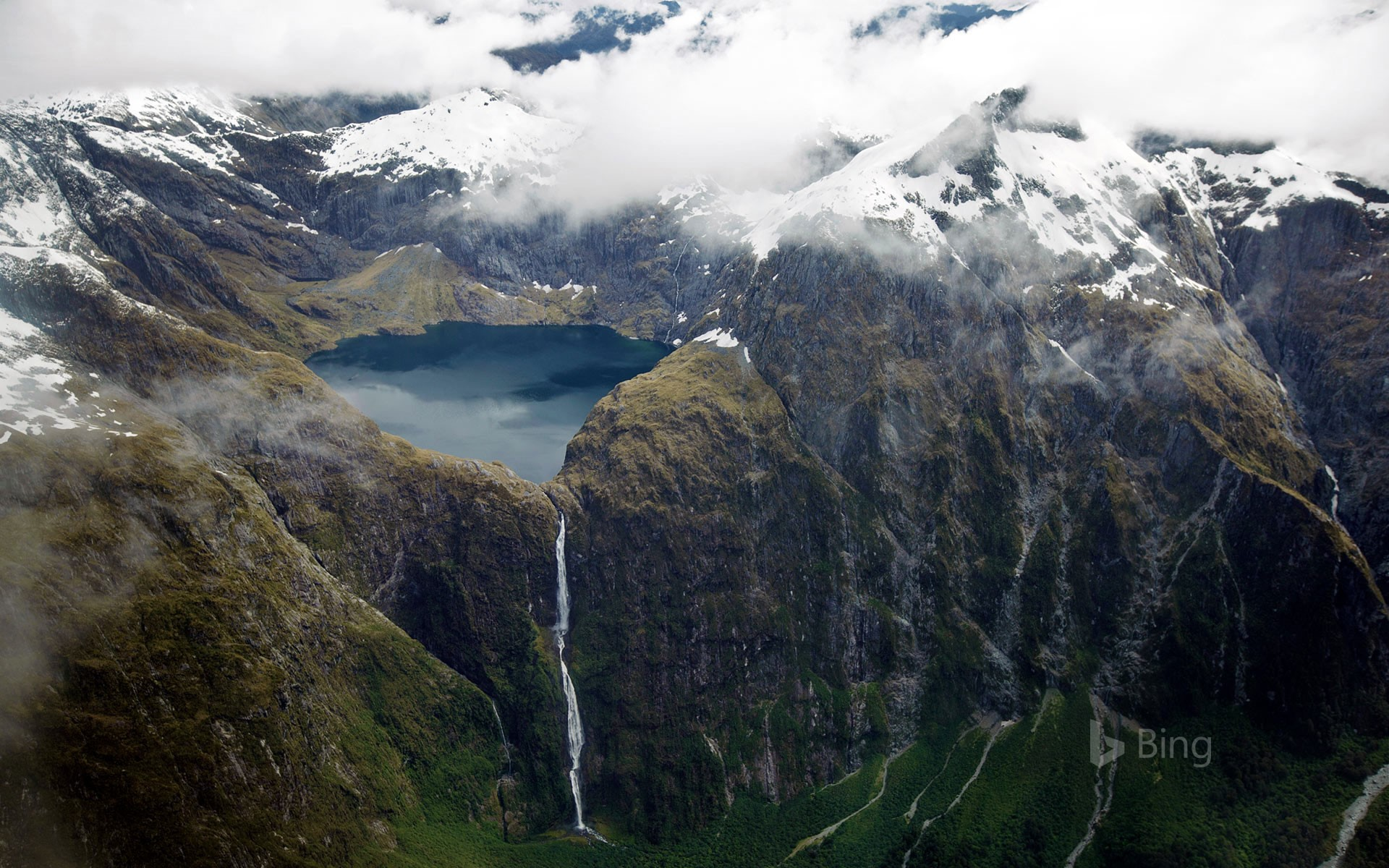 Sutherland Falls and Lake Quill in New Zealand