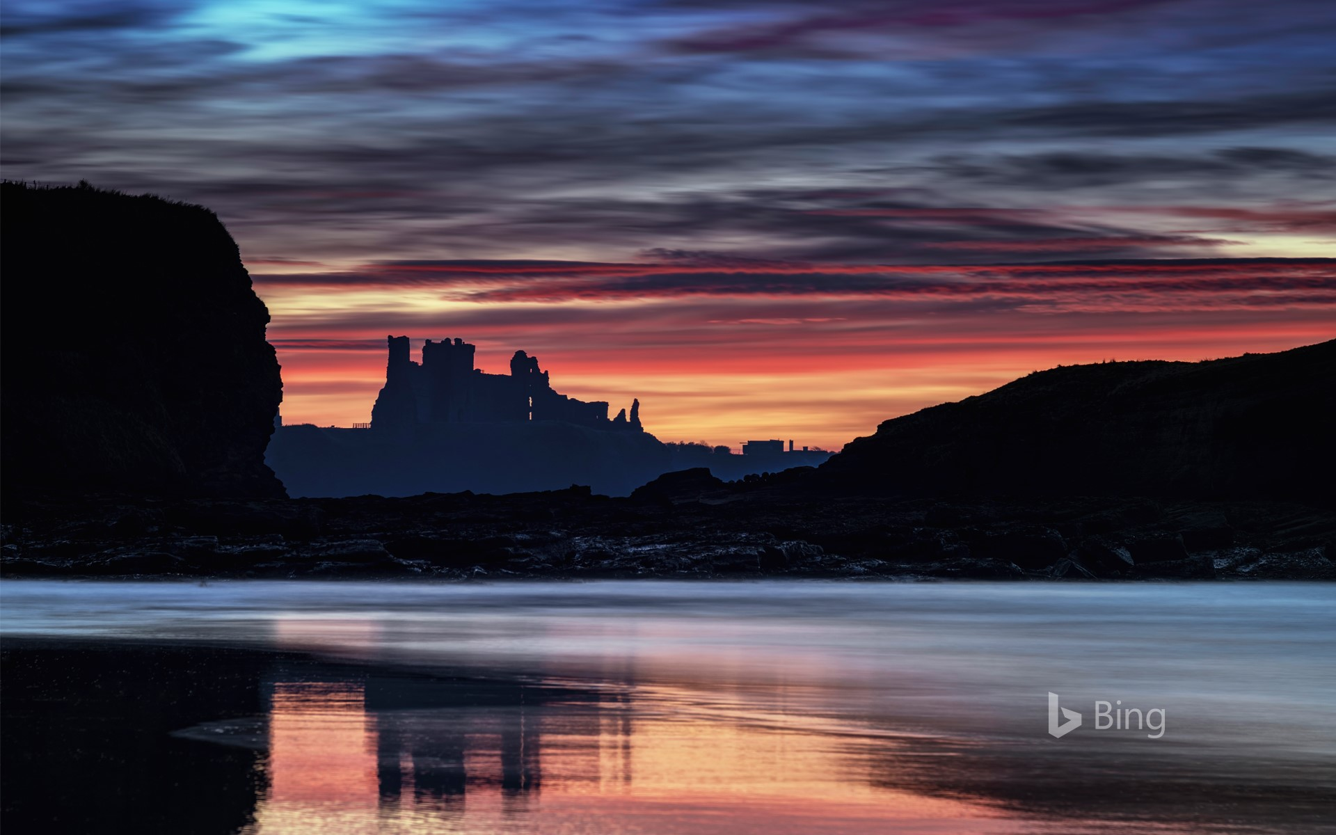 Tantallon Castle at sunset from Seacliff Beach, East Lothian, Scotland