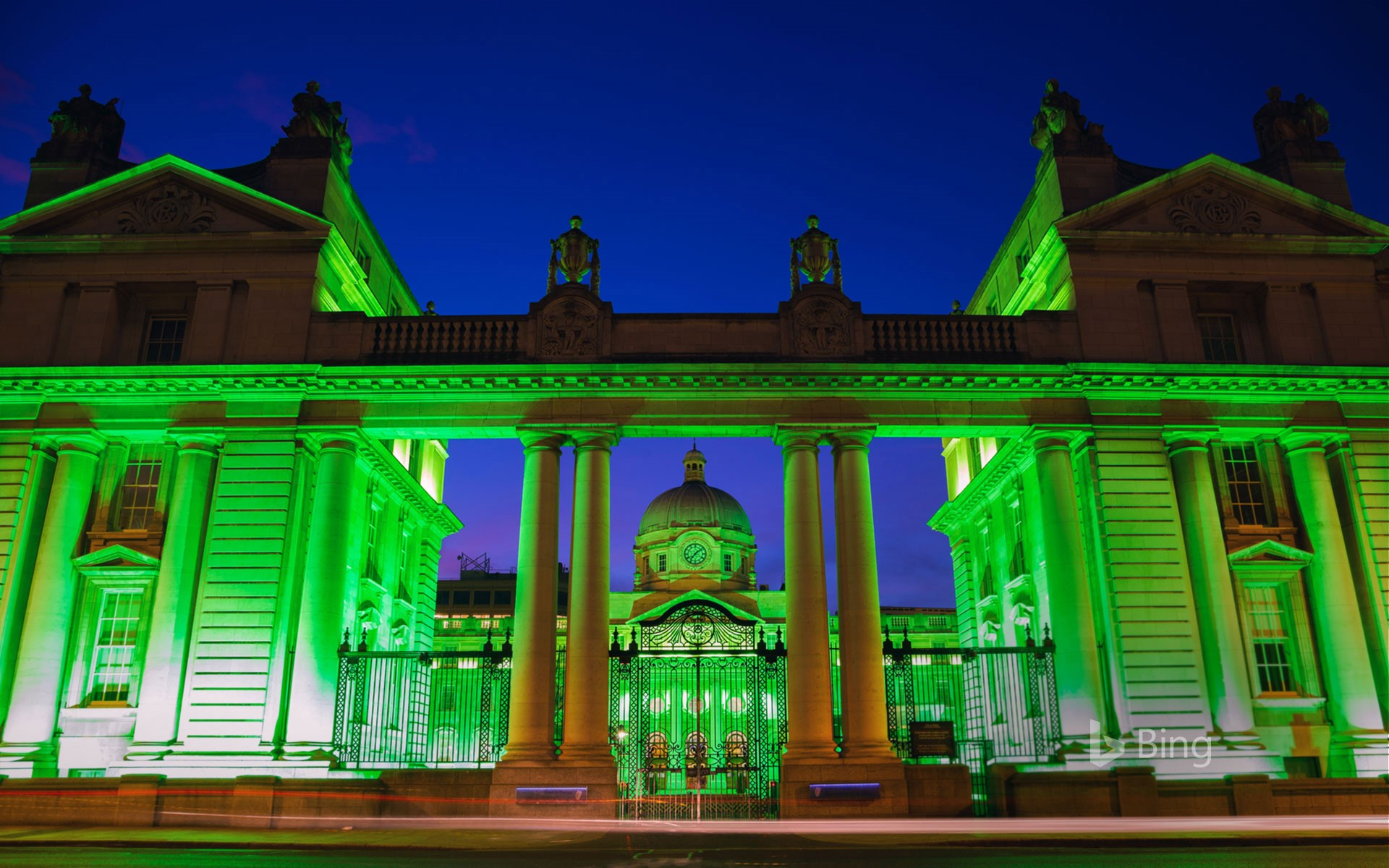 Department of the Taoiseach lit up for the St Patrick's Festival in Dublin, Ireland (© David Soanes Photography/Getty Images)