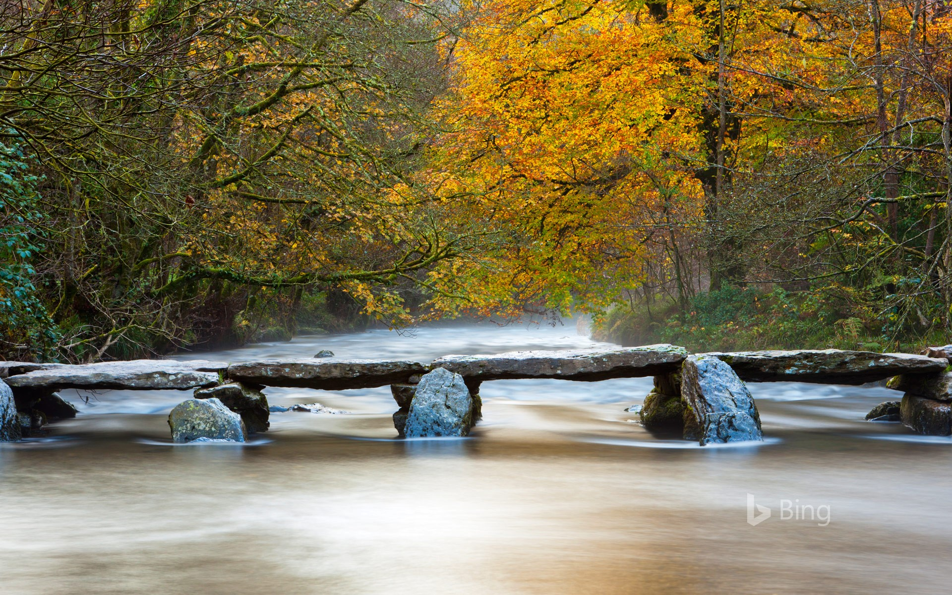The Tarr Steps across the River Barle in Exmoor National Park, Somerset