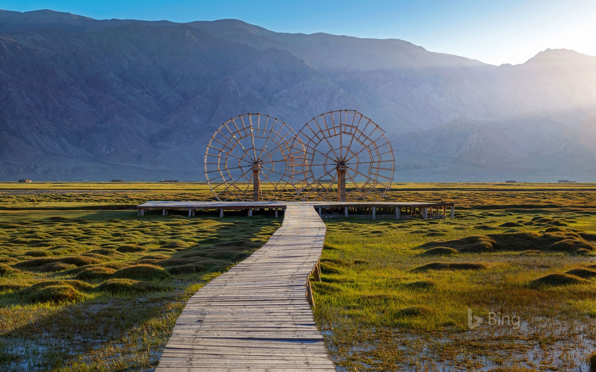 Water wheels in the Tashkurgan Grassland, Tashkurgan Tajik Autonomous County, Xinjiang, China