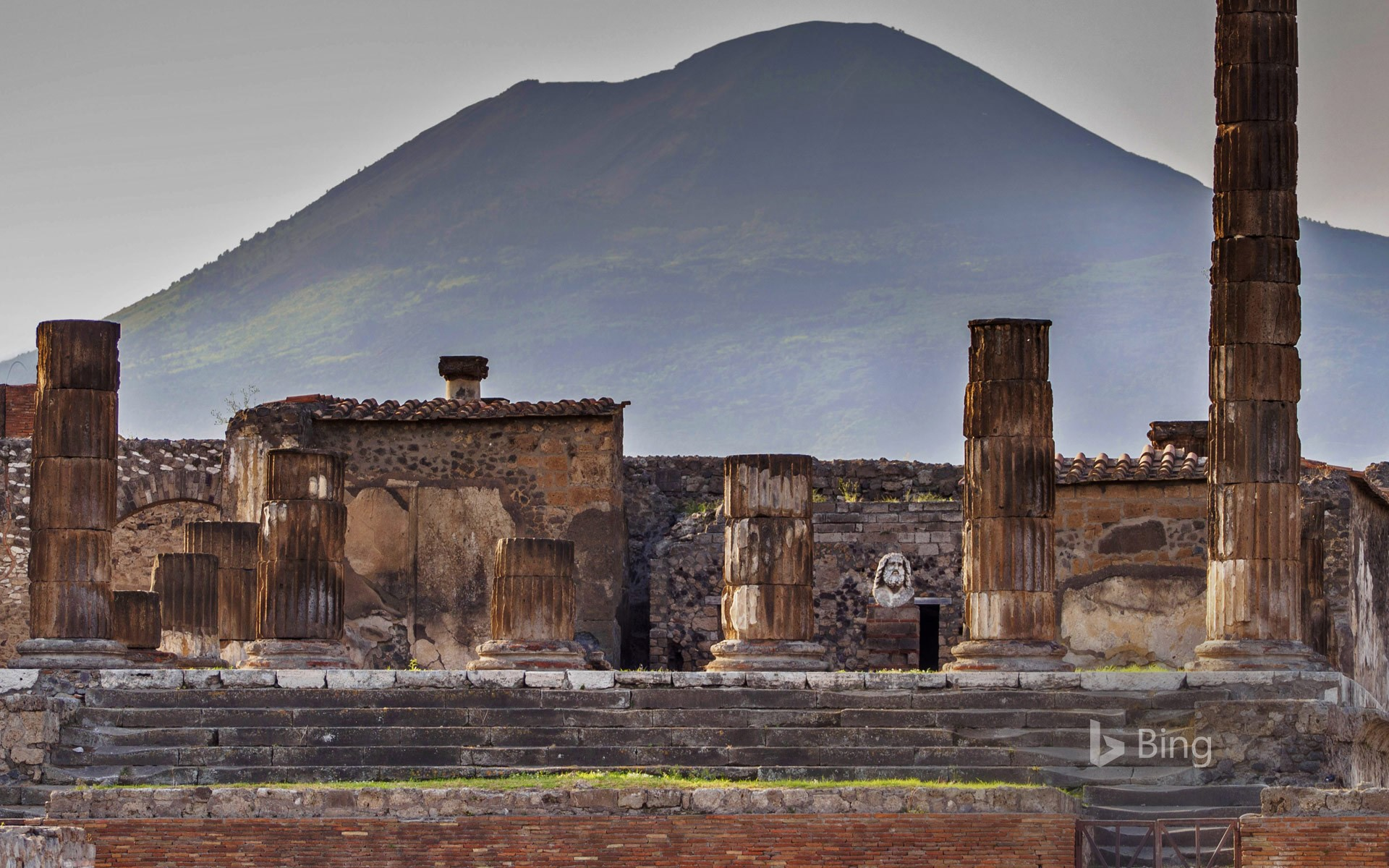 The Temple of Jupiter and Mount Vesuvius from Pompeii, Italy