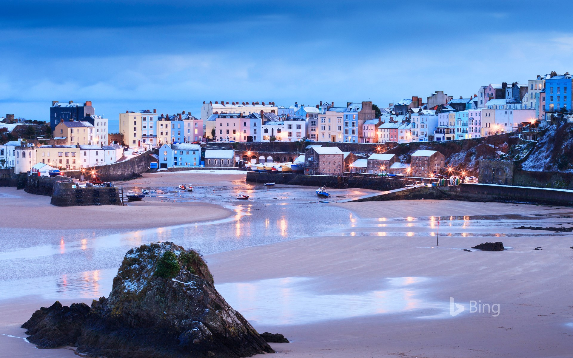 Wintertime at Tenby Harbour in Pembrokeshire, Wales