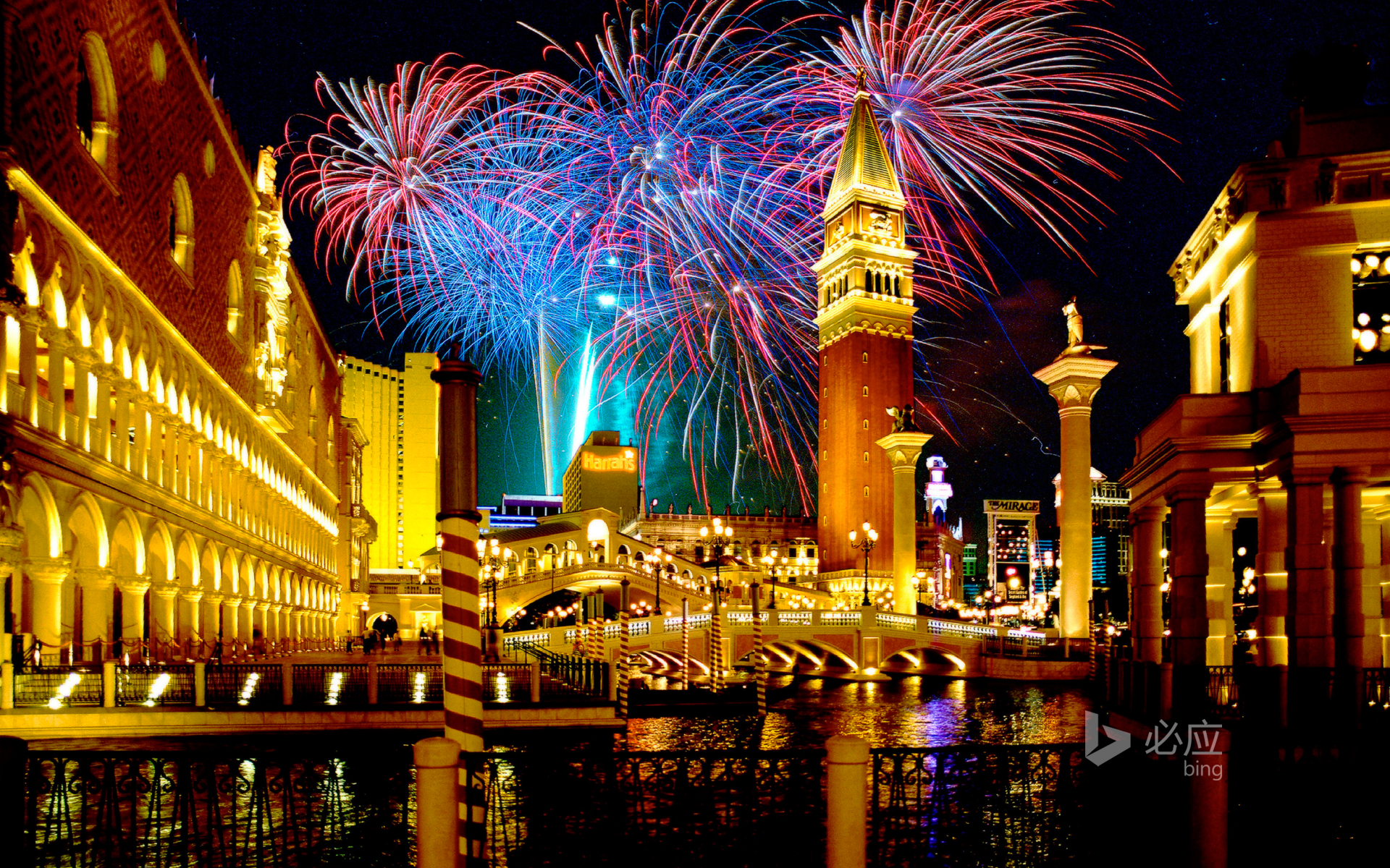 Fireworks over the Venetian Hotel in Las Vegas, USA