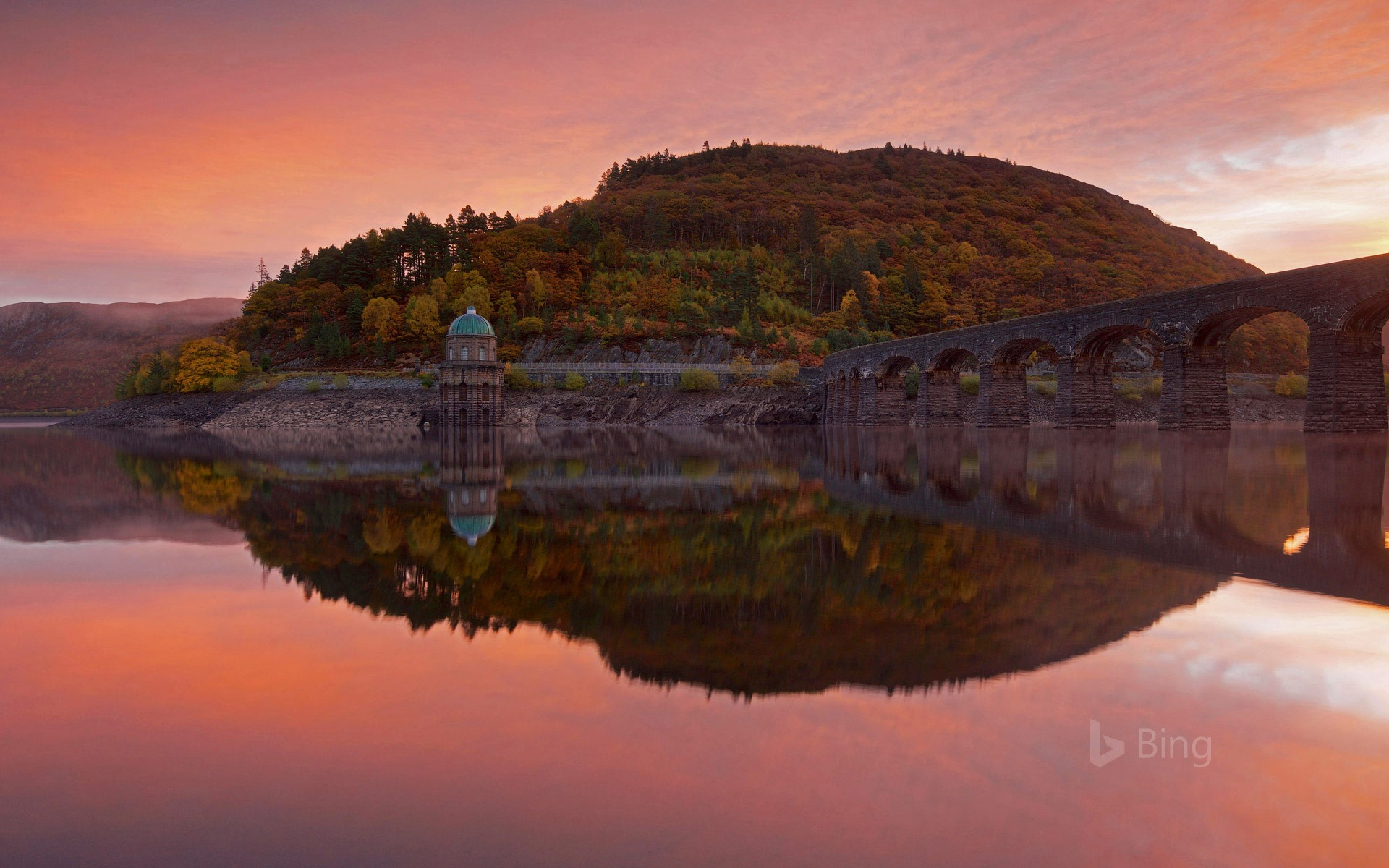 Garreg Ddu Dam in the Elan Valley of Wales
