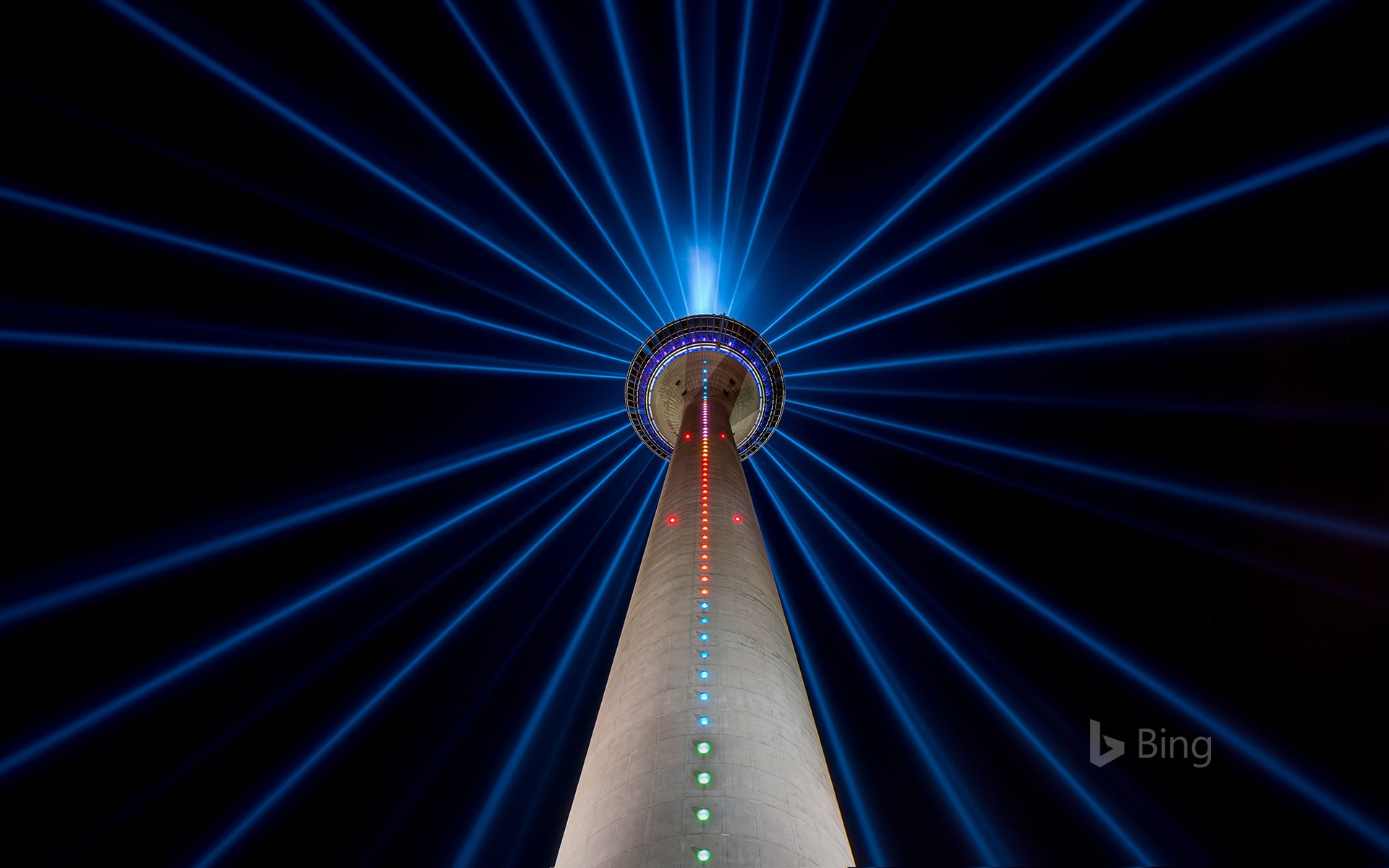 The Rheinturm at night in Düsseldorf, Germany