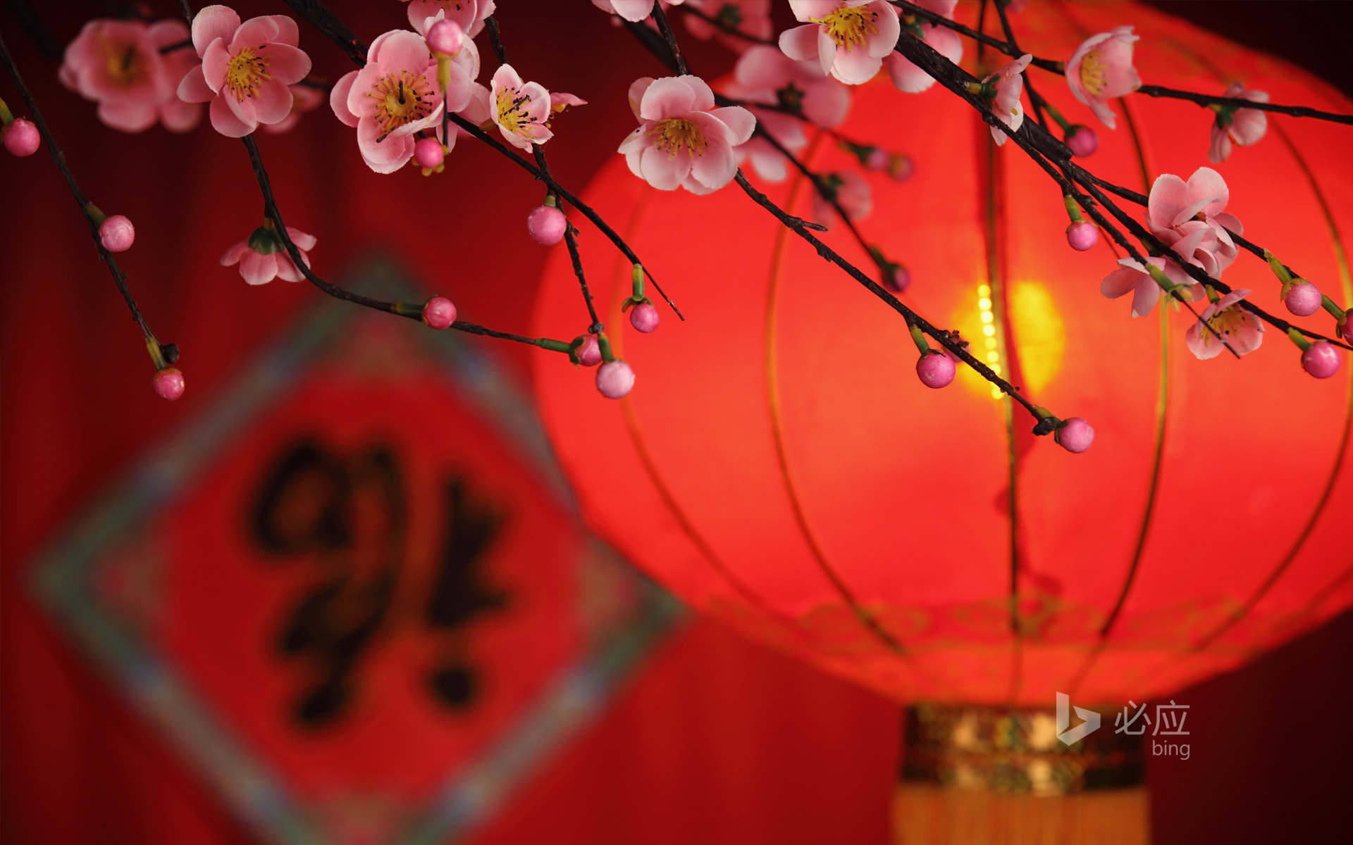 Chinese new year decoration, lanterns and blessings
