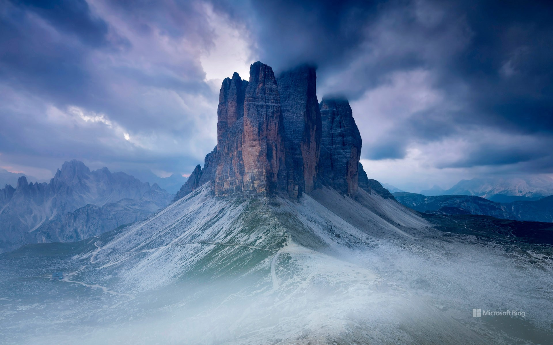 Tre Cime di Lavaredo as seen from the Lavaredo fork, Sexten Dolomites, Italy