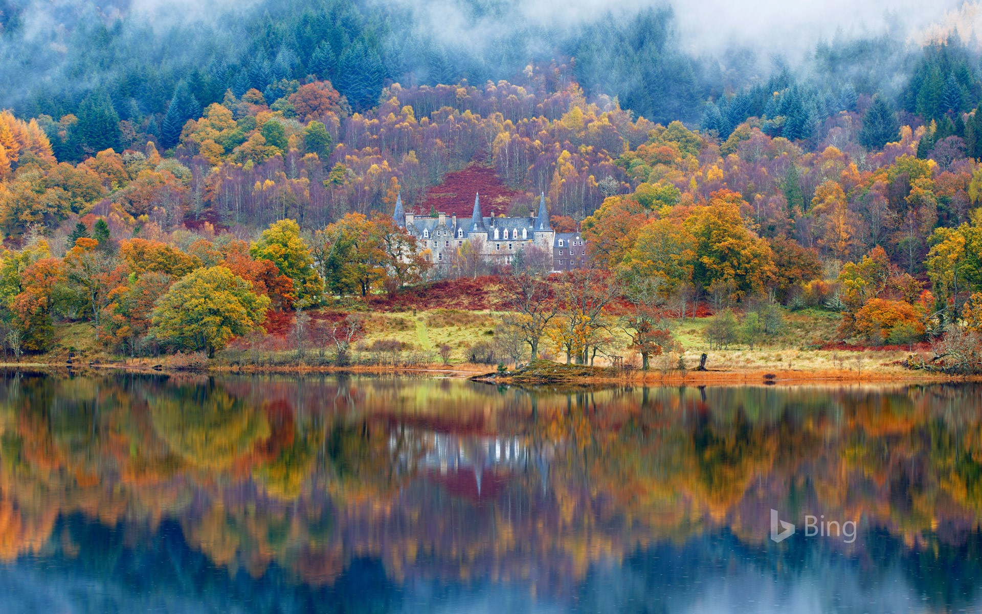Tigh Mor and Loch Achray surrounded by fog, Perthshire
