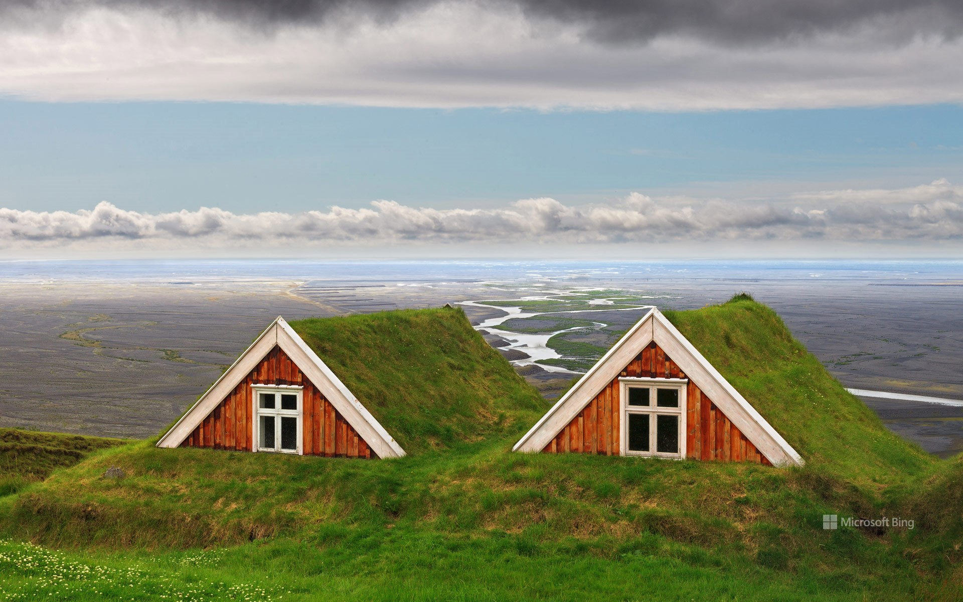 Traditional farmhouses at Skaftafell, Vatnajökull National Park, Iceland