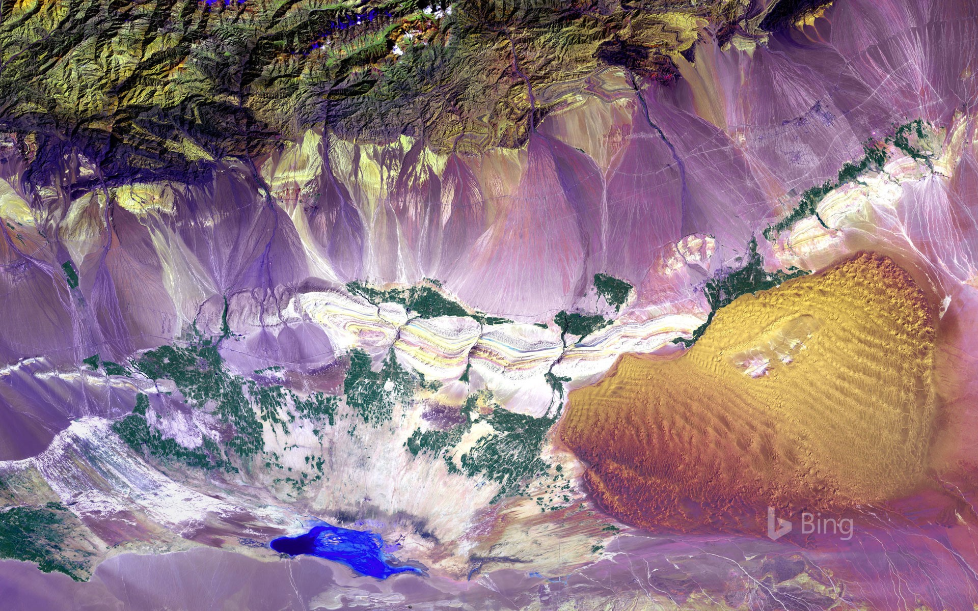 Aerial view of the Turpan Depression, China