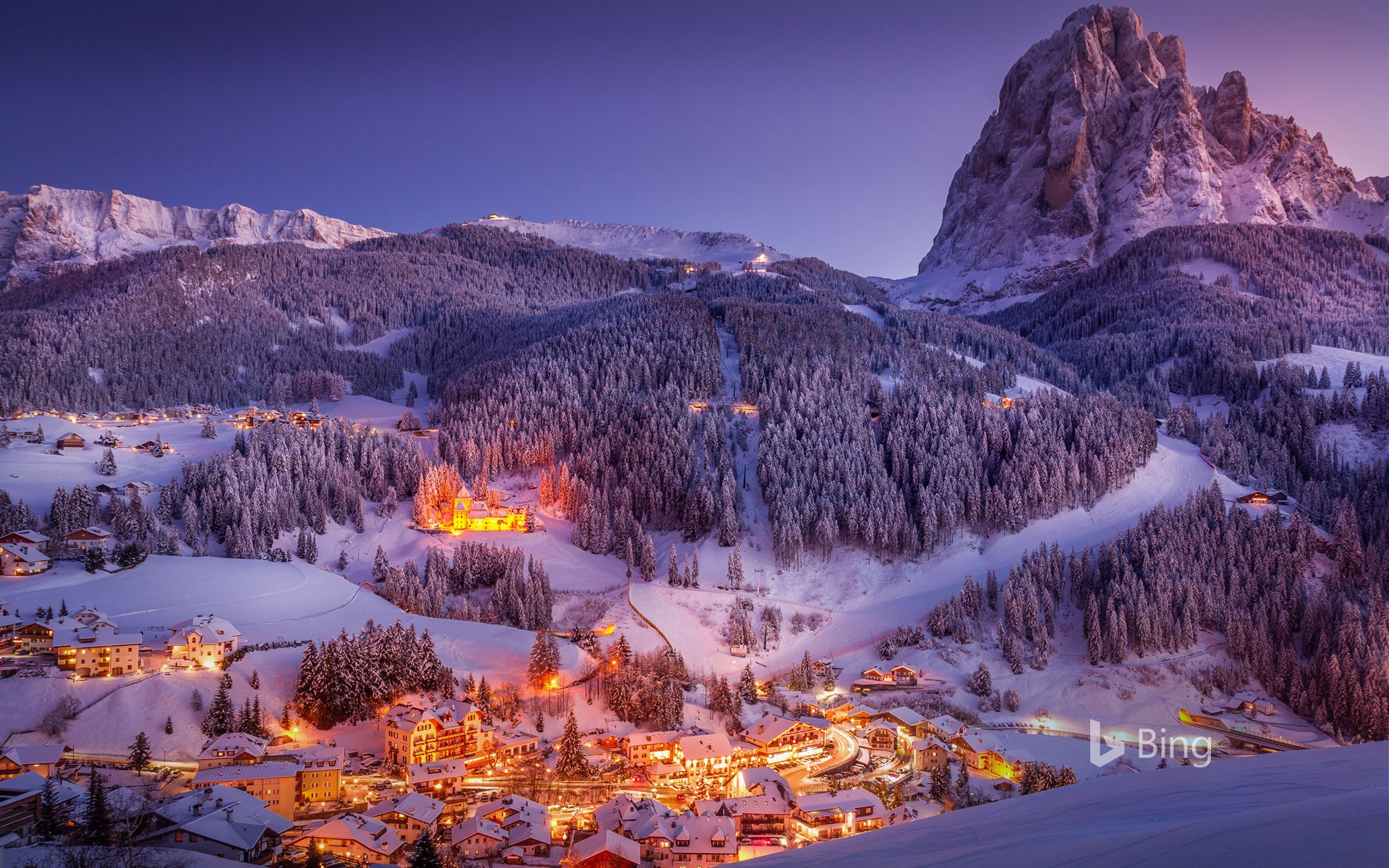 Sunset in Val Gardena in the Dolomites of South Tyrol, Italy