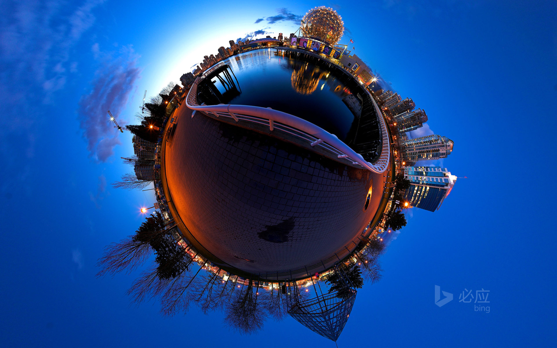 Stereo projection of Vancouver, British Columbia, Canada, Ford Creek and Science World