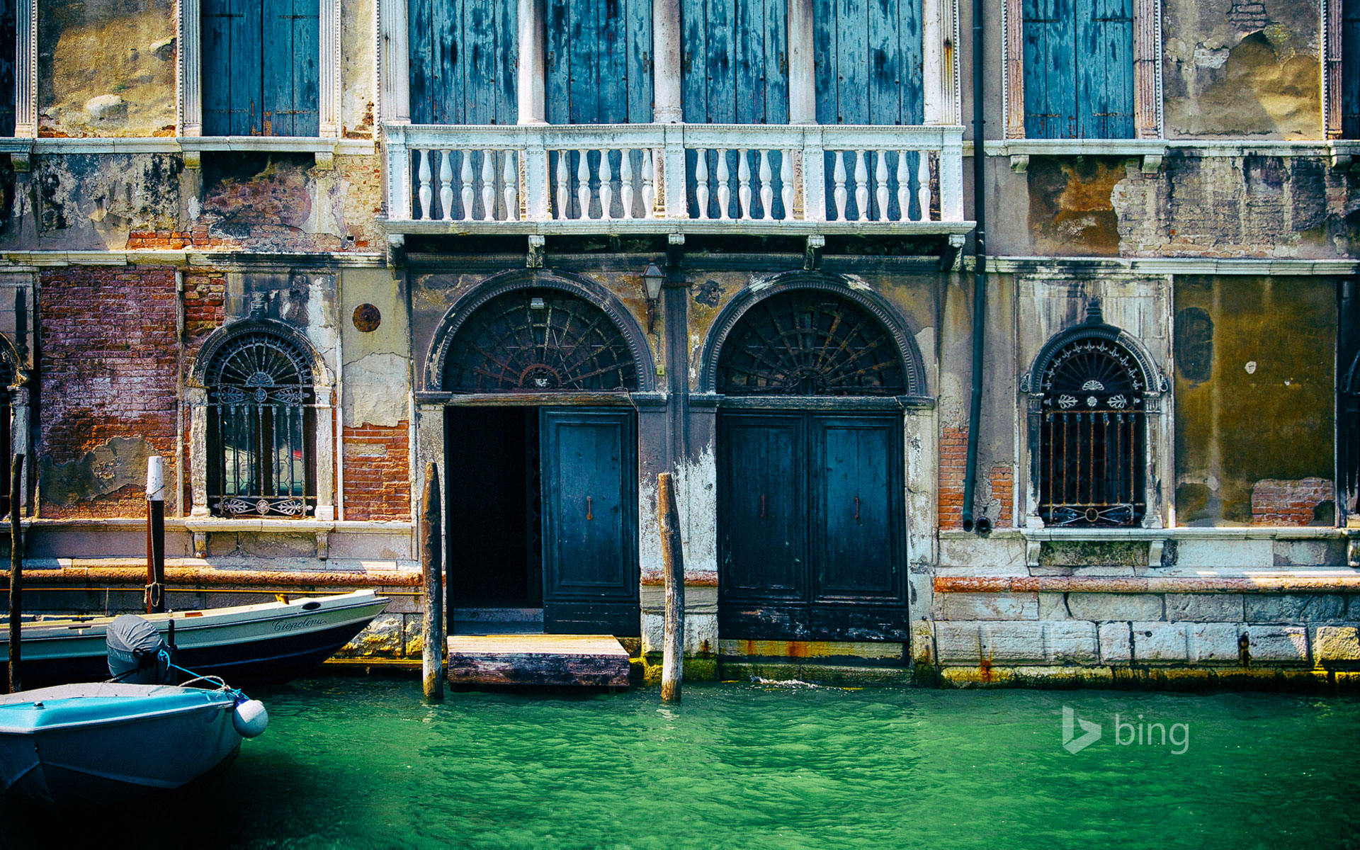 Building façade and canal in Venice, Italy
