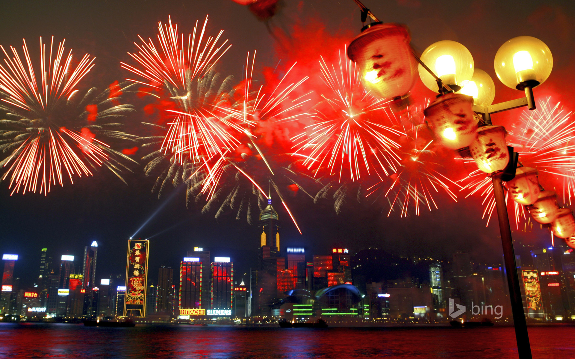Fireworks in Victoria Harbour during Chinese New Year festivities, Hong Kong, China
