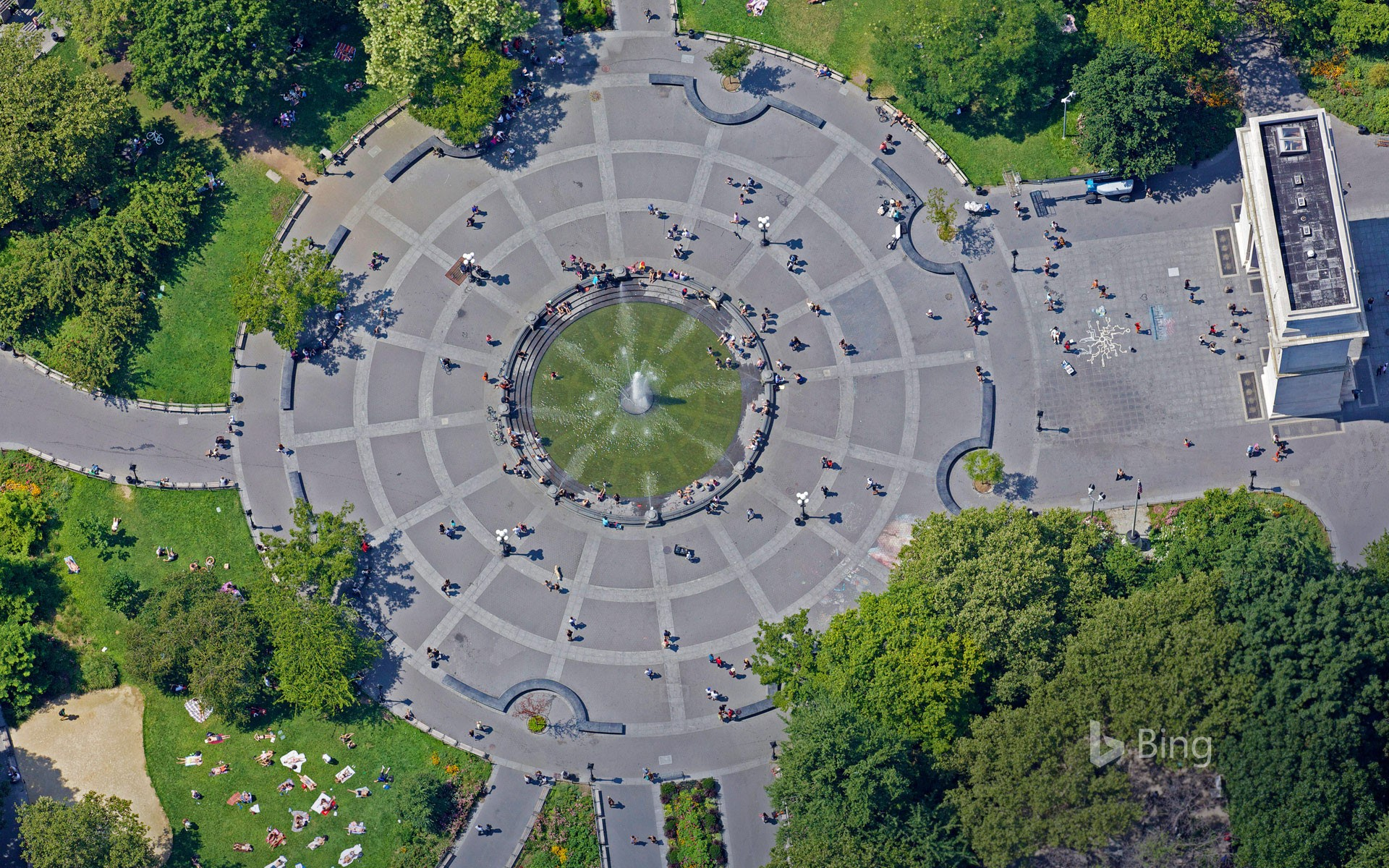 Aerial view of Washington Square Park, New York City, USA
