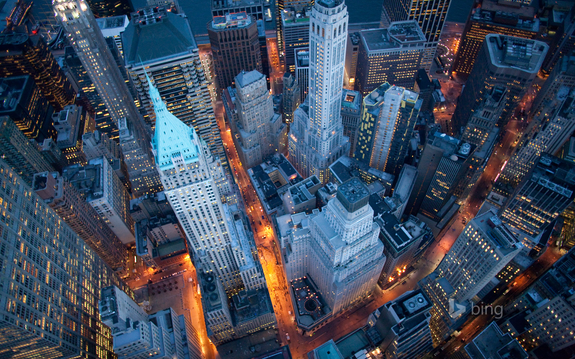Aerial view of Wall Street, New York City