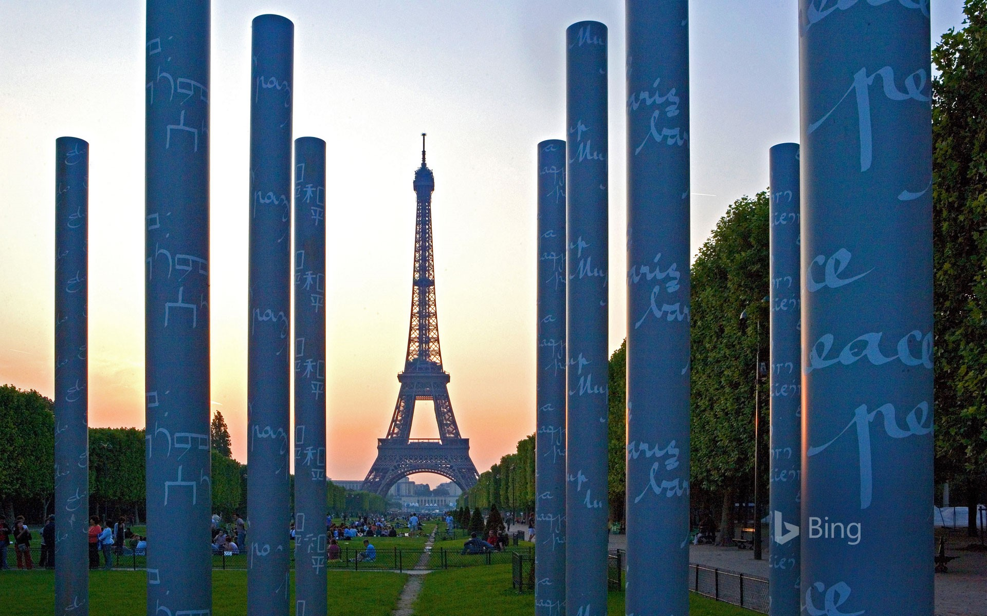 'The Wall for Peace' and the Eiffel Tower in Paris for the International Day of Peace